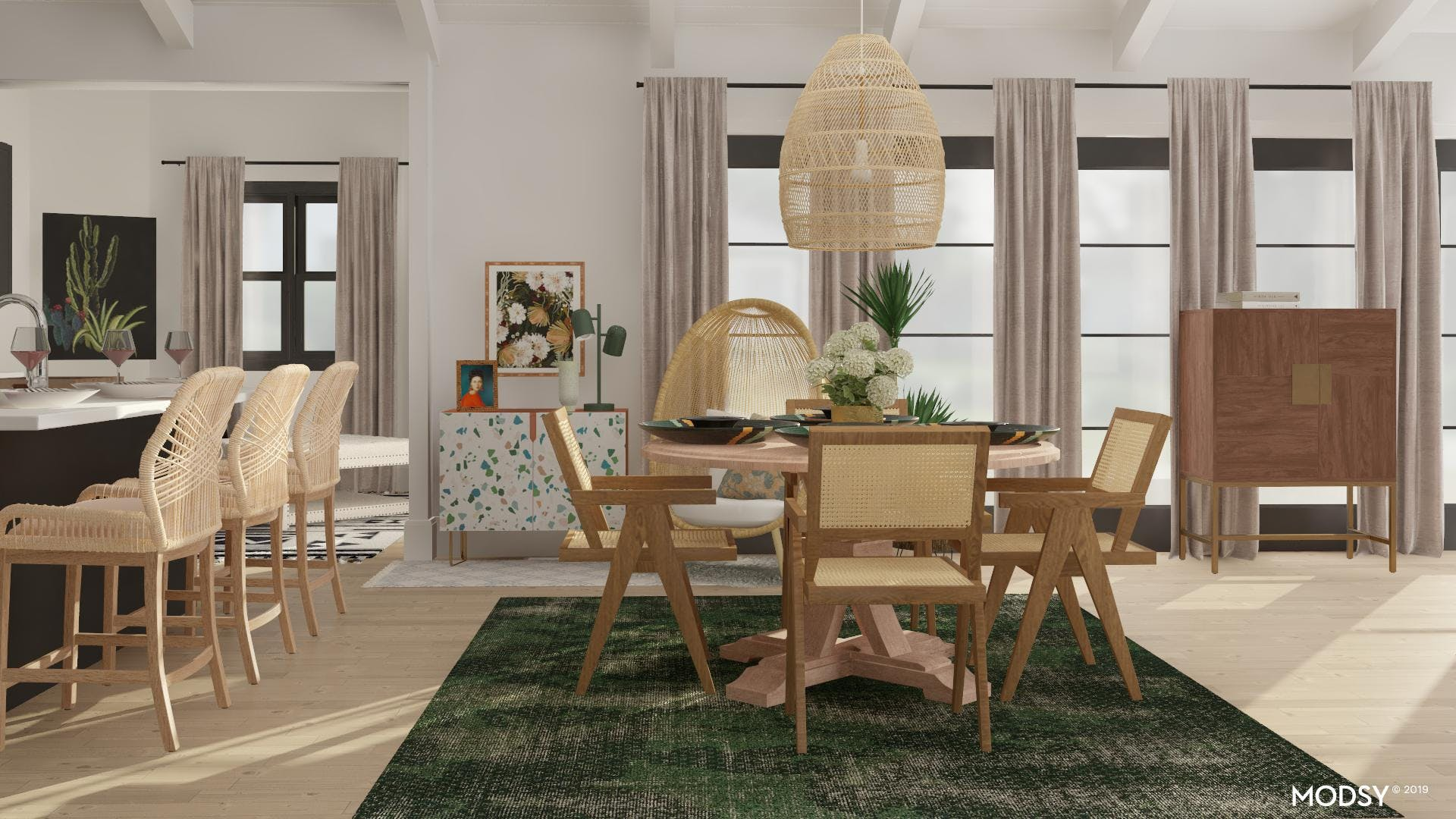 Earthy and Eclectic Dining Room