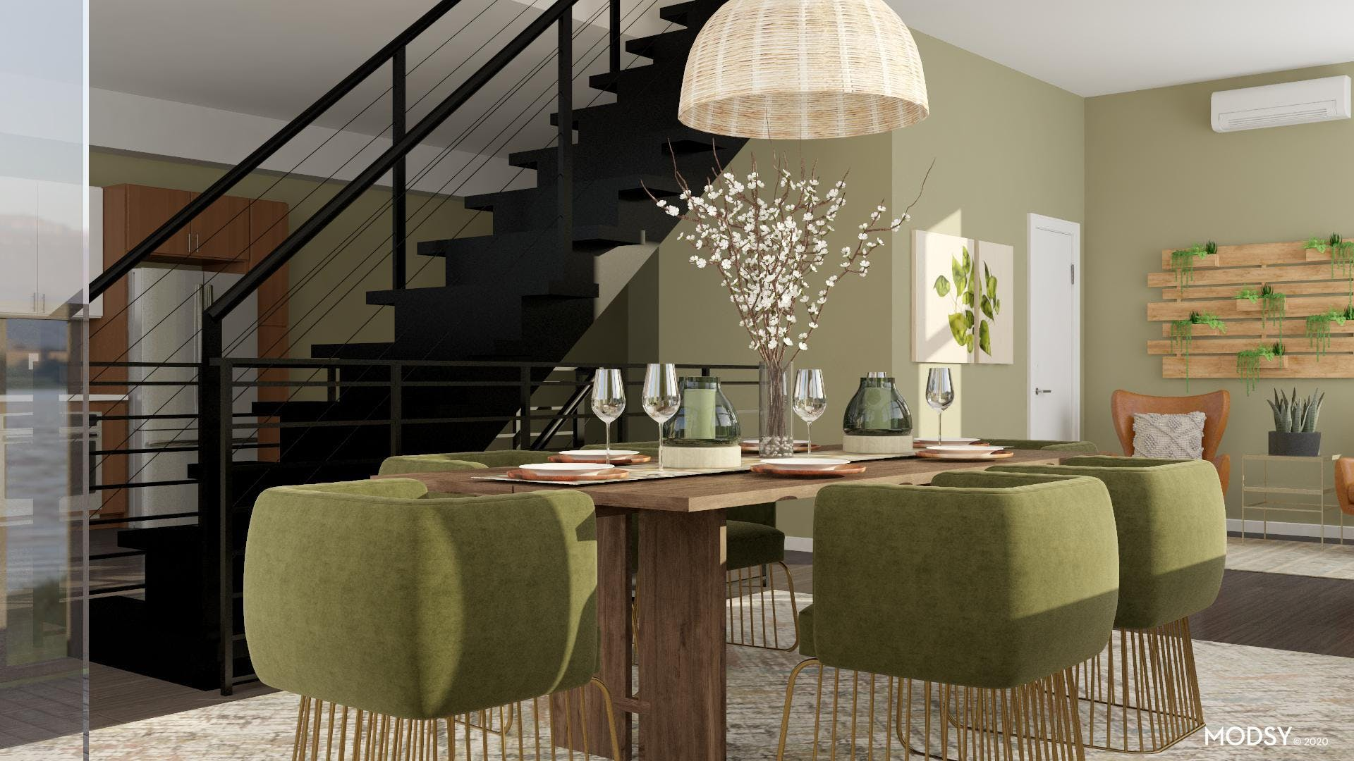 Eclectic Green Dining Room