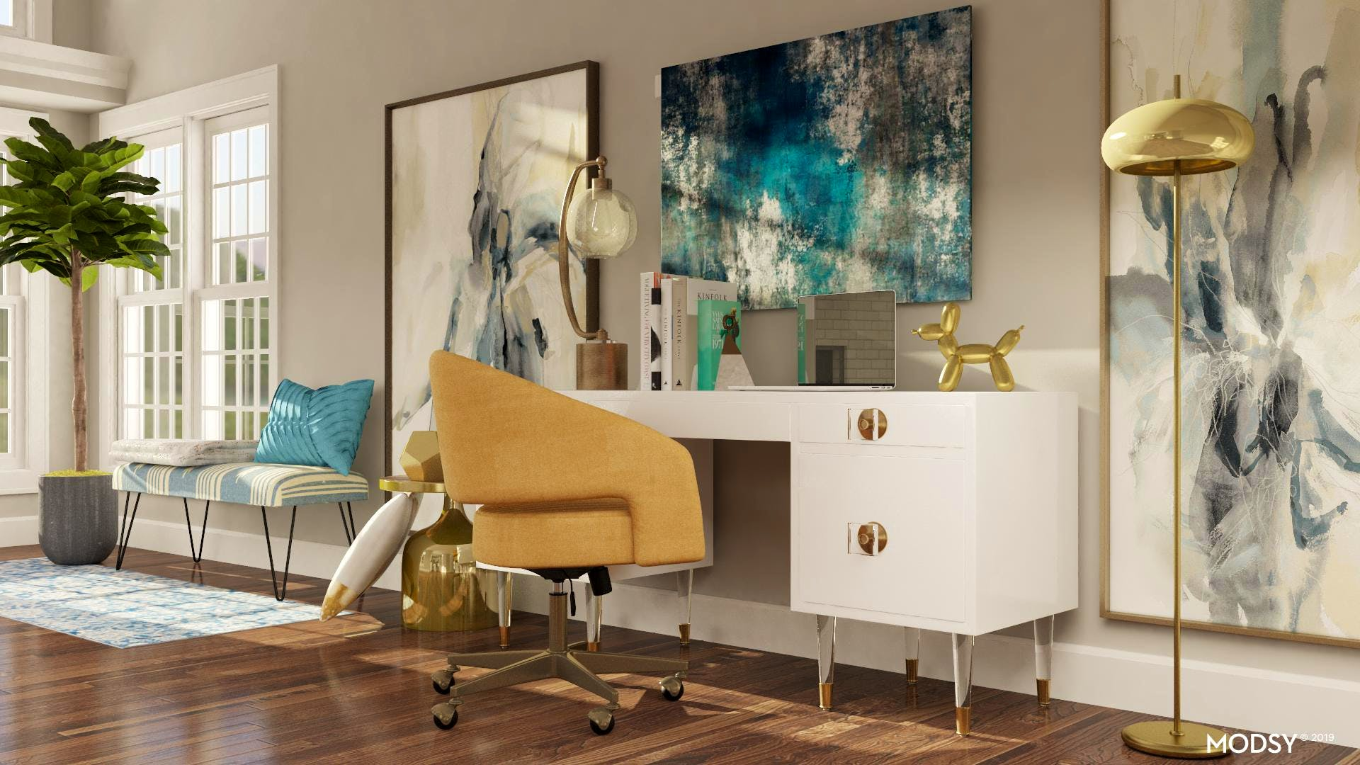 Modern Glam: Office Art Wall | Glam-Style Home Office ...