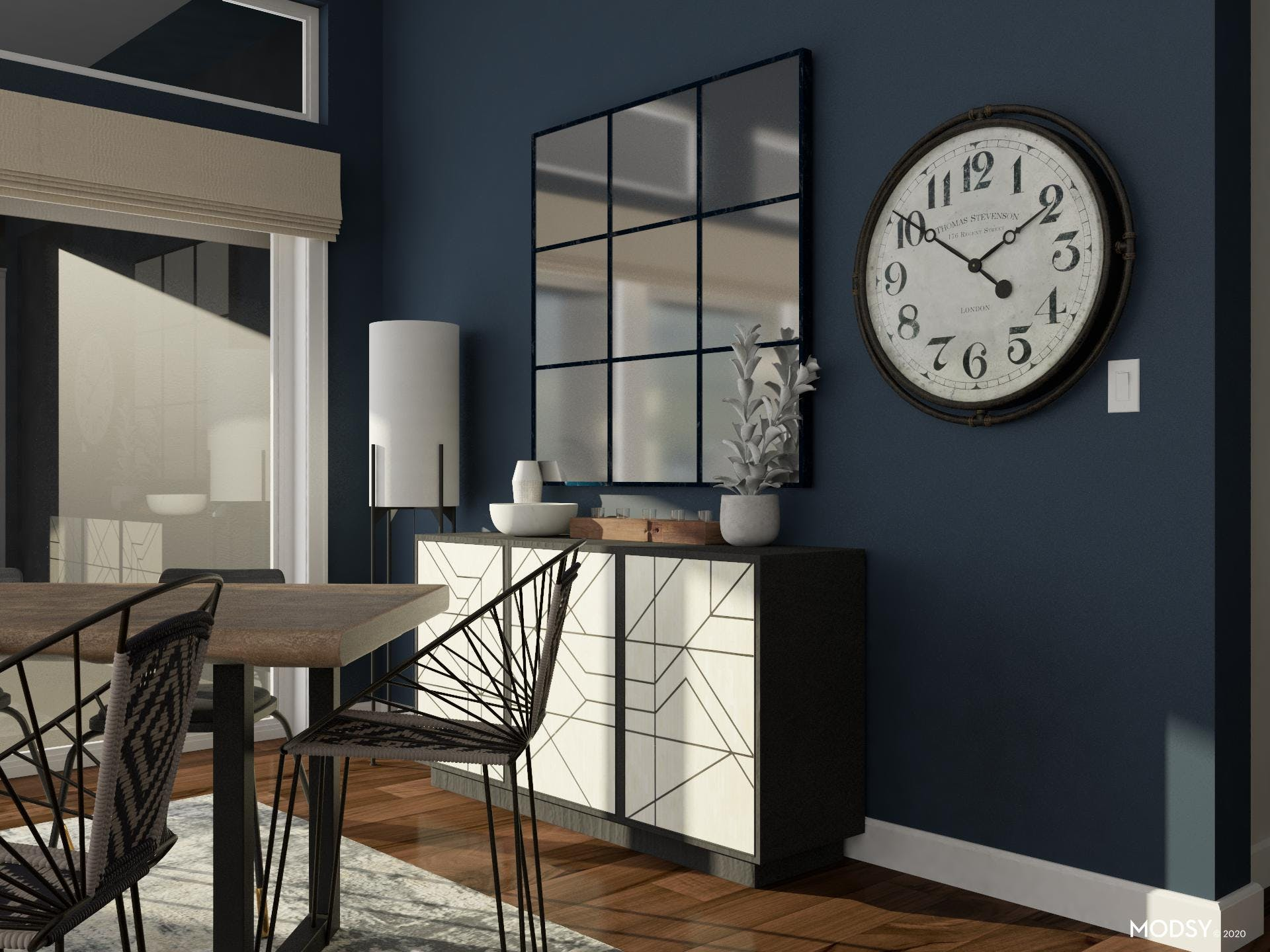 Decorative Accents: Blue Industrial Dining Room