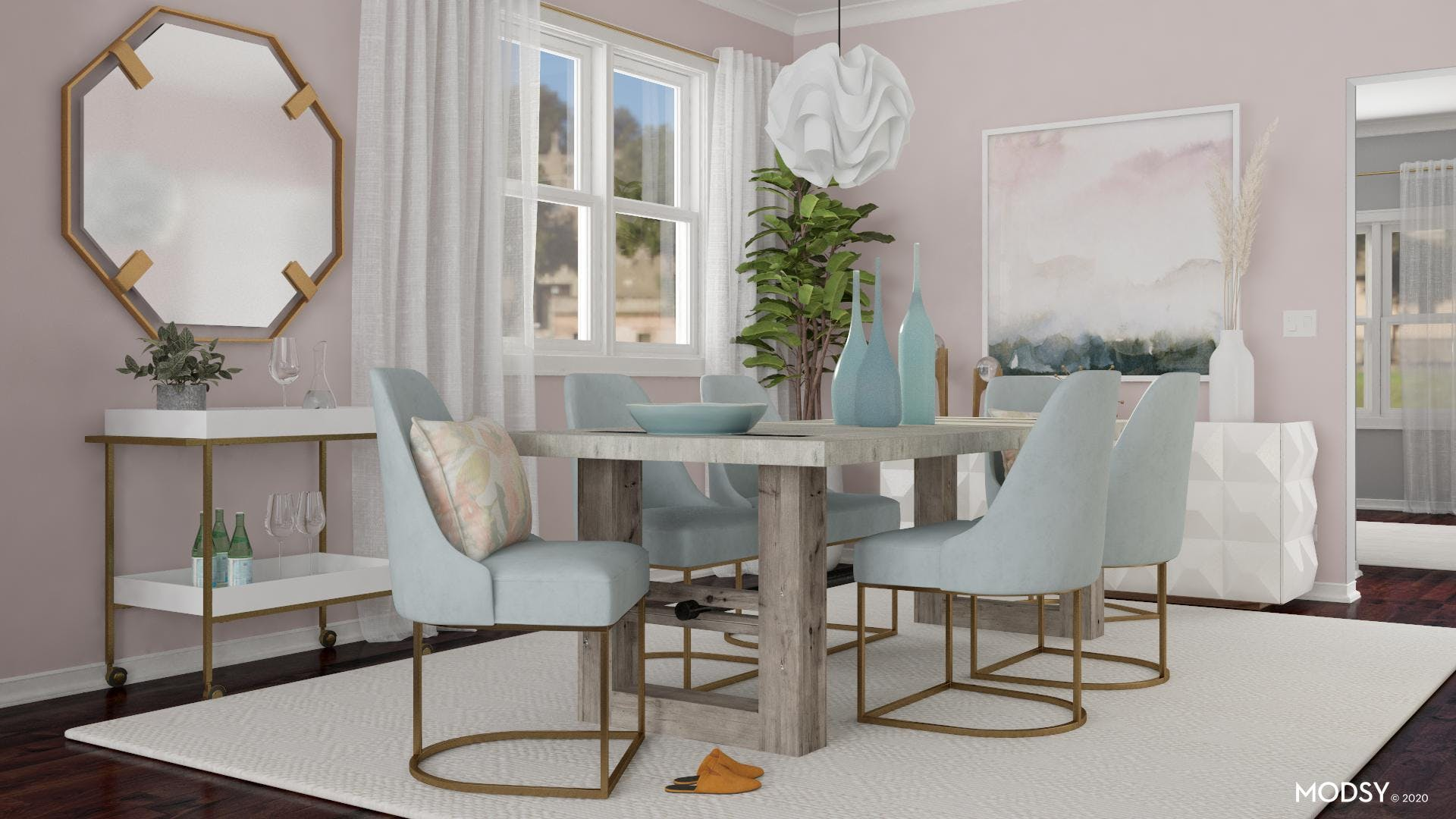 A Pink Contemporary Dining Room