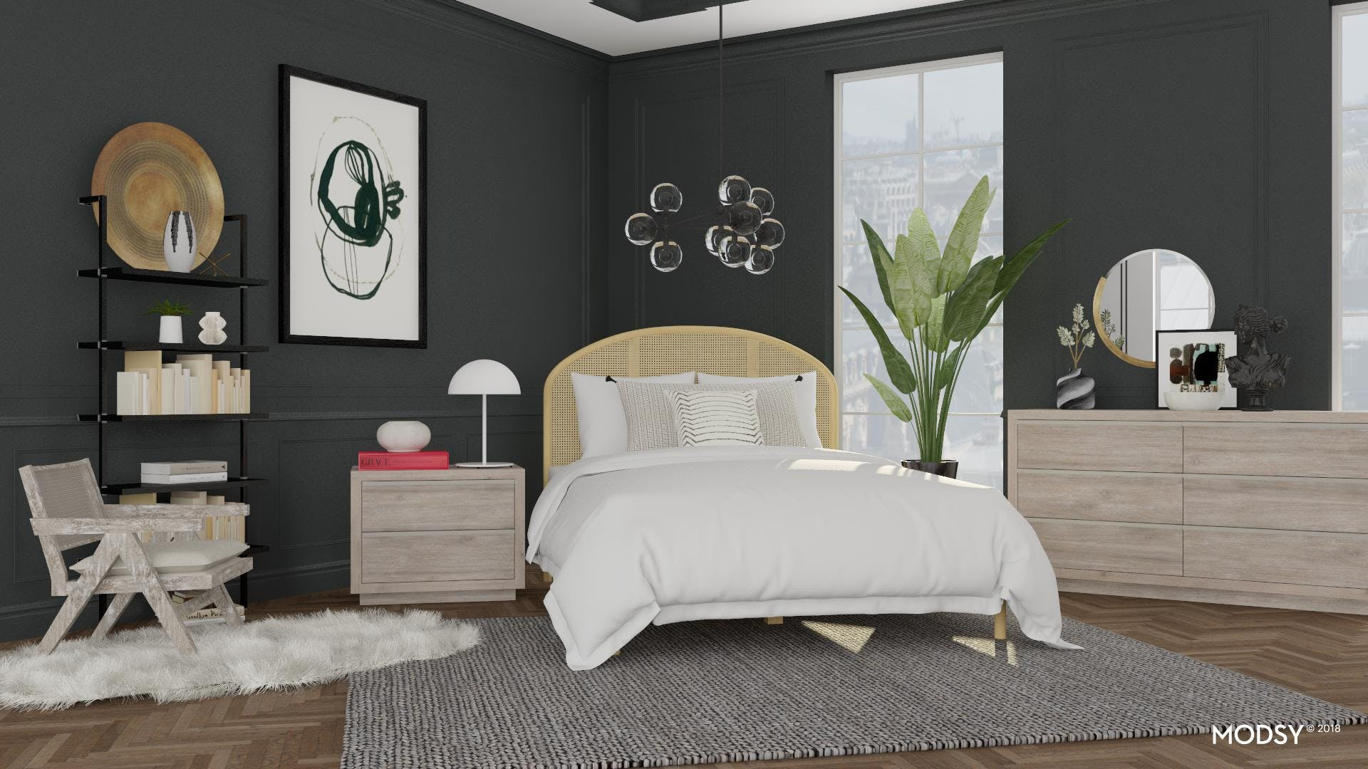 A Bedroom In Grayscale