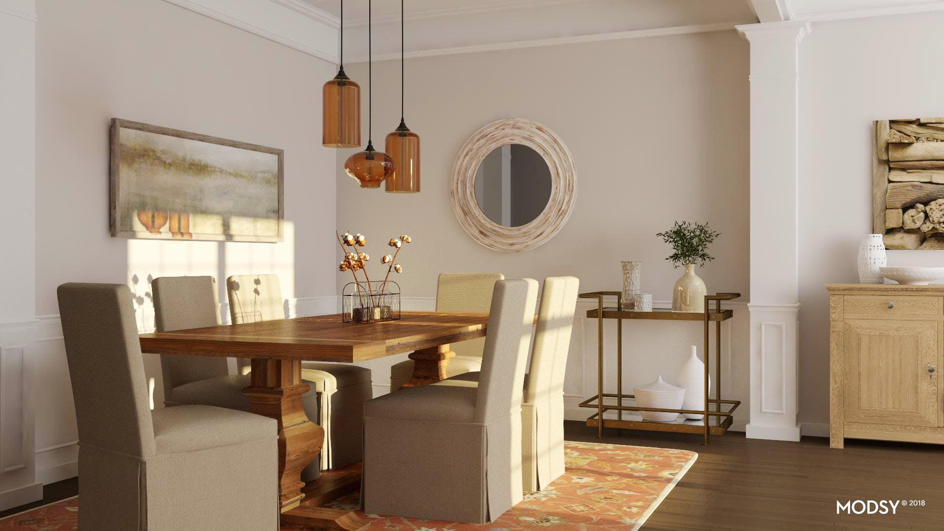 Rustic Dining Room With Autumnal Hues