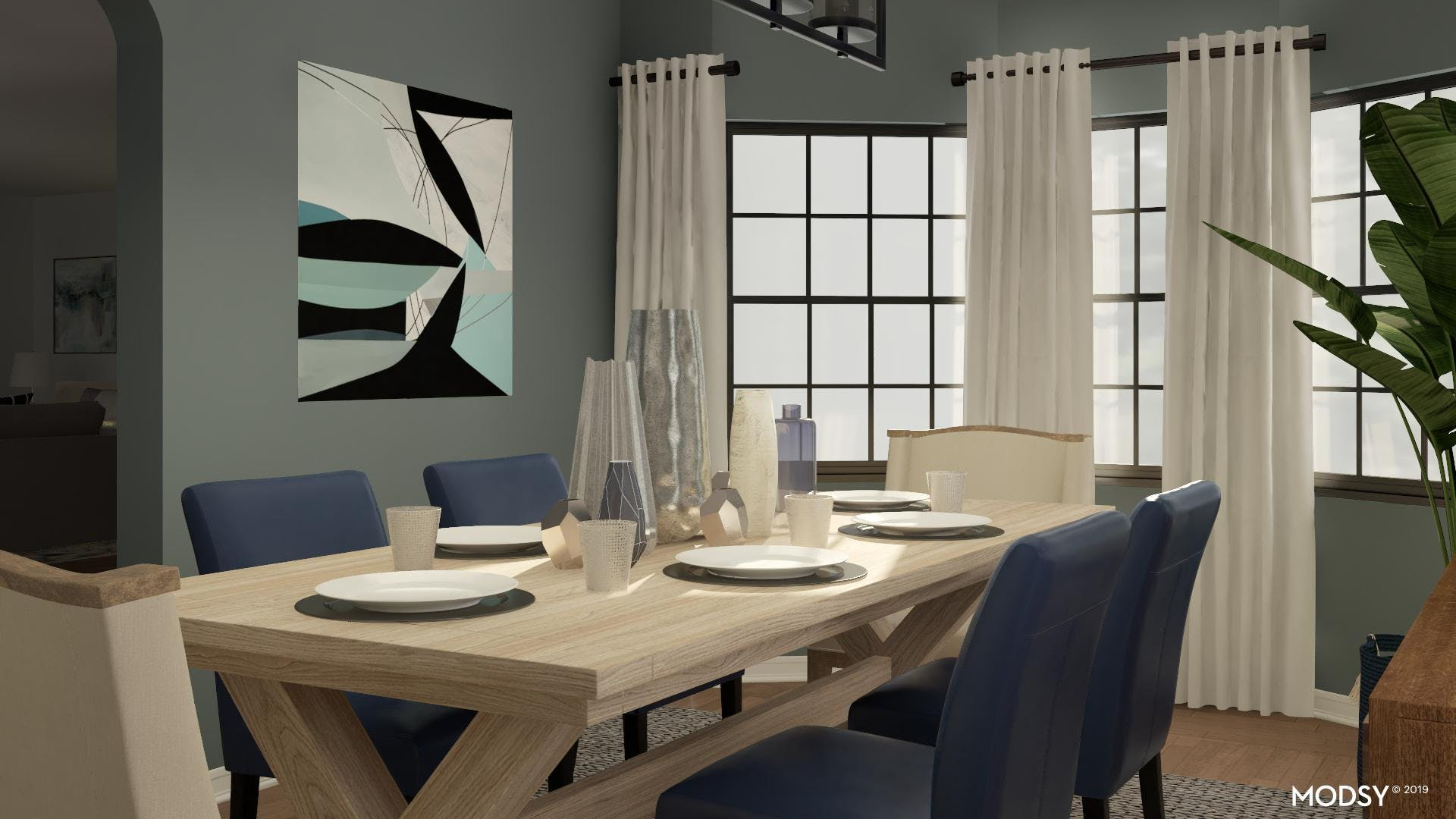 Contemporary Blue Color Story: Dining Room