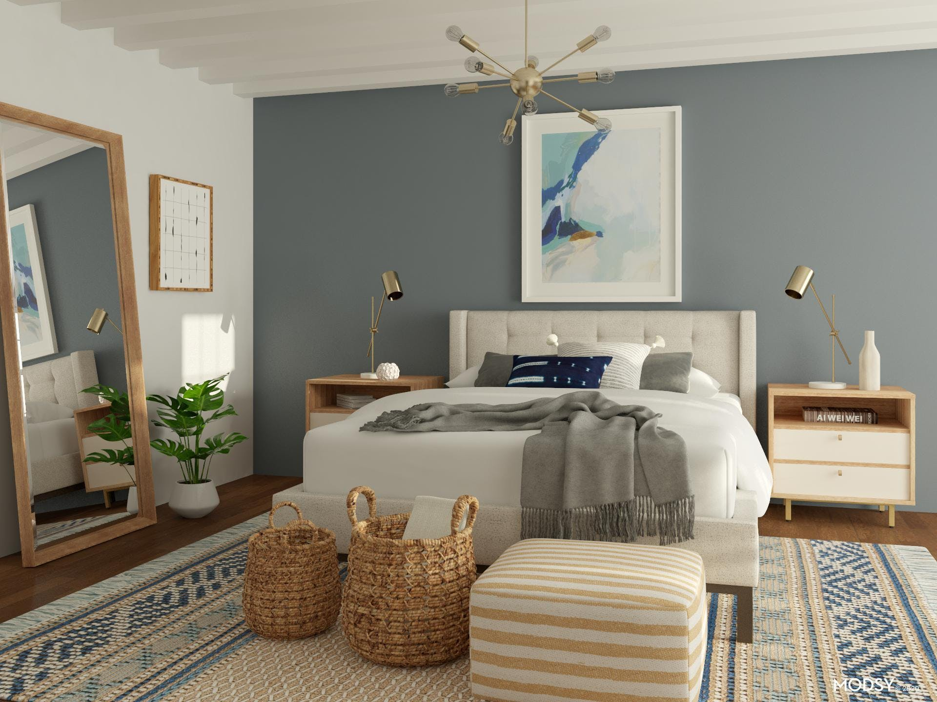 Mid-Century-Modern Bedroom with a California Casual Vibe
