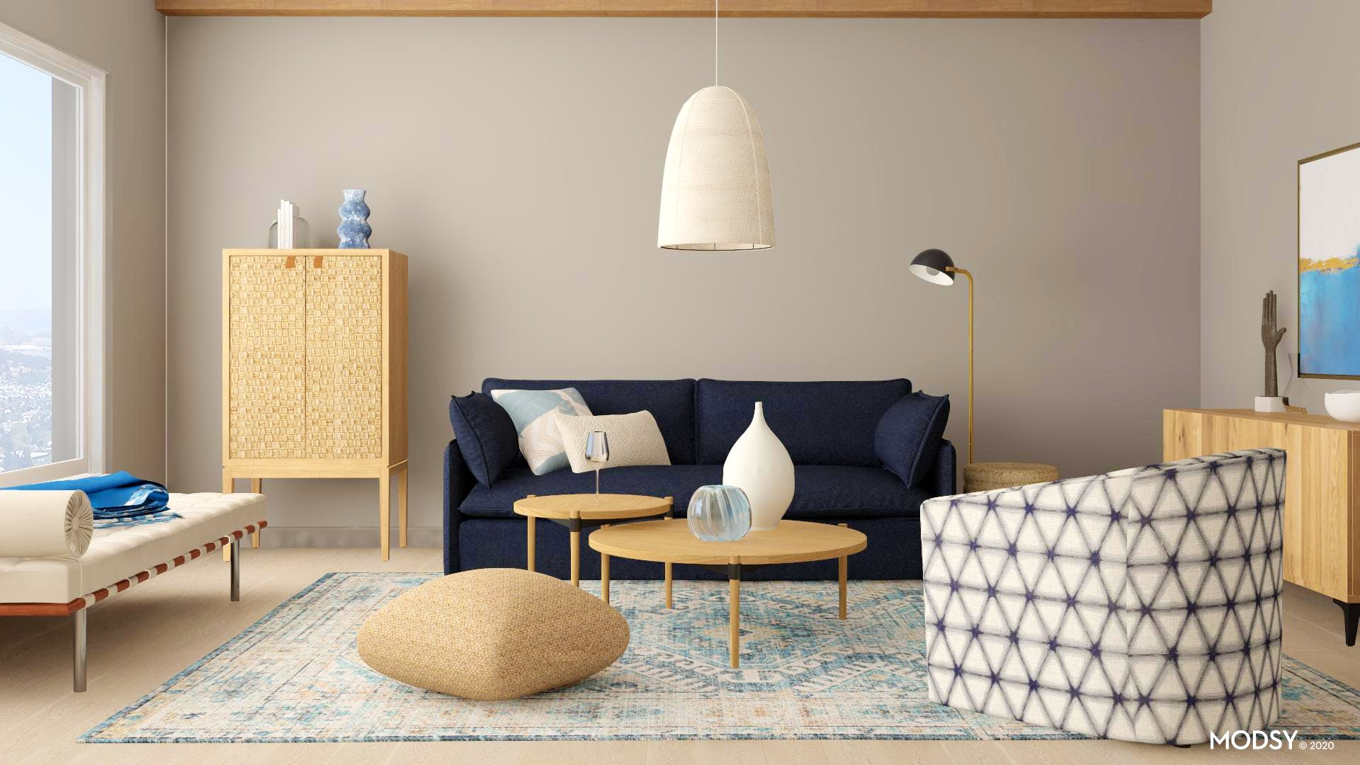 Cool-toned Organic Modern Living Room