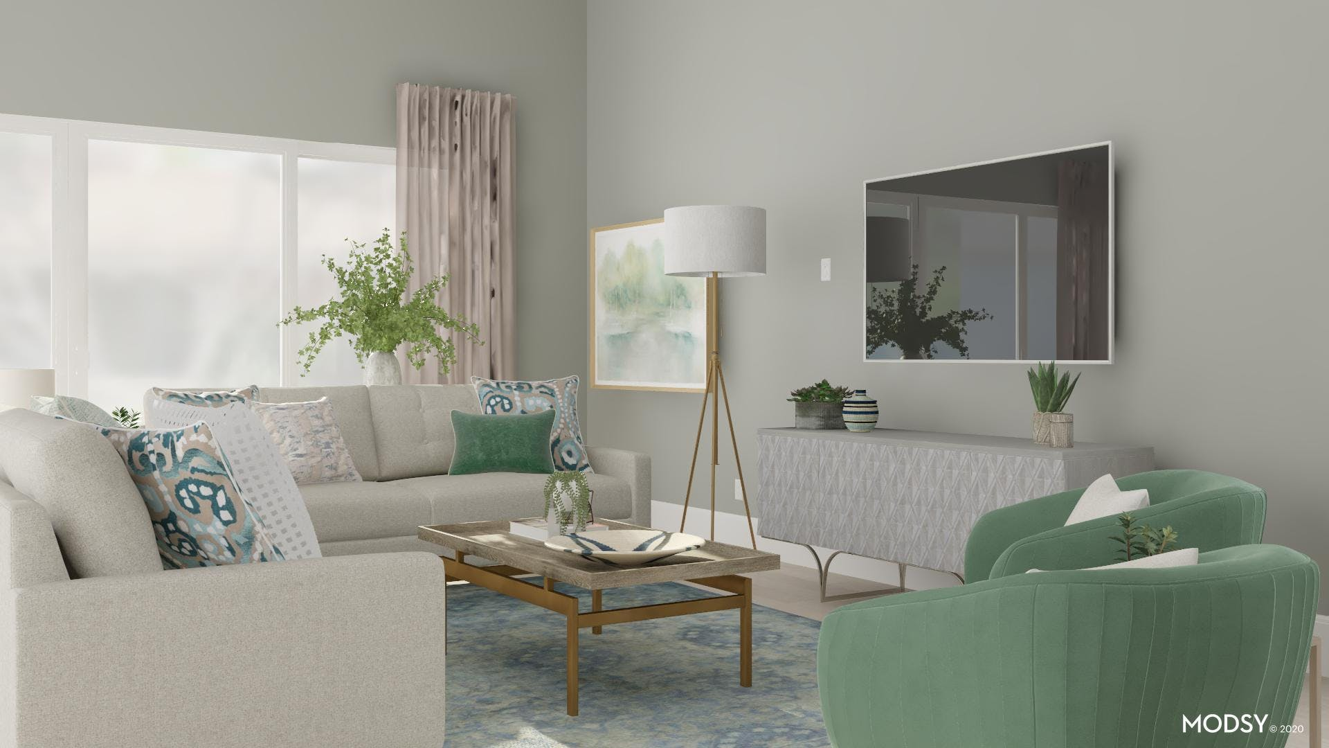 Green and Neutral Tone Living Room