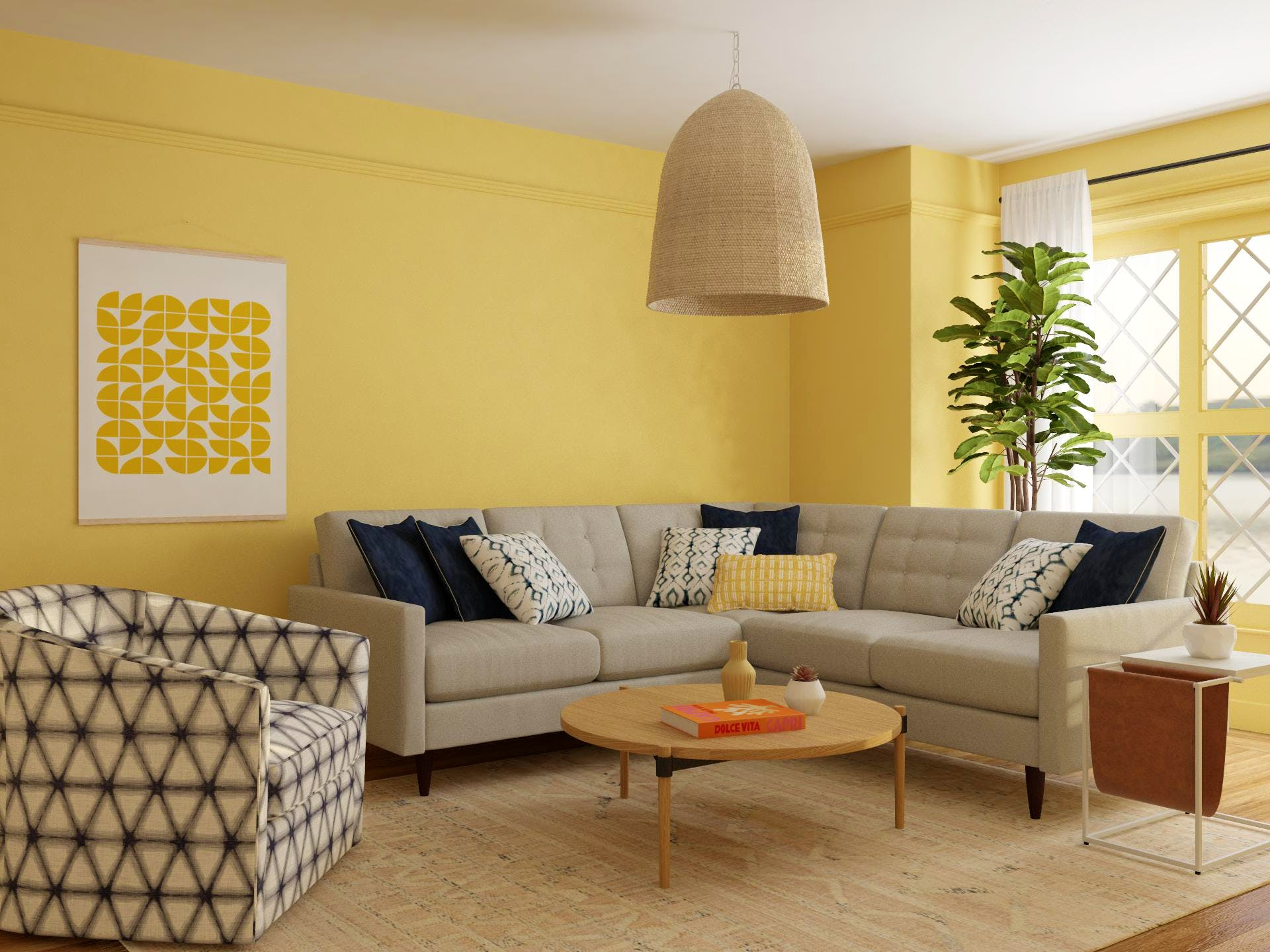 Yellow Living Room with Navy Accents and Mid-Century-Modern Style