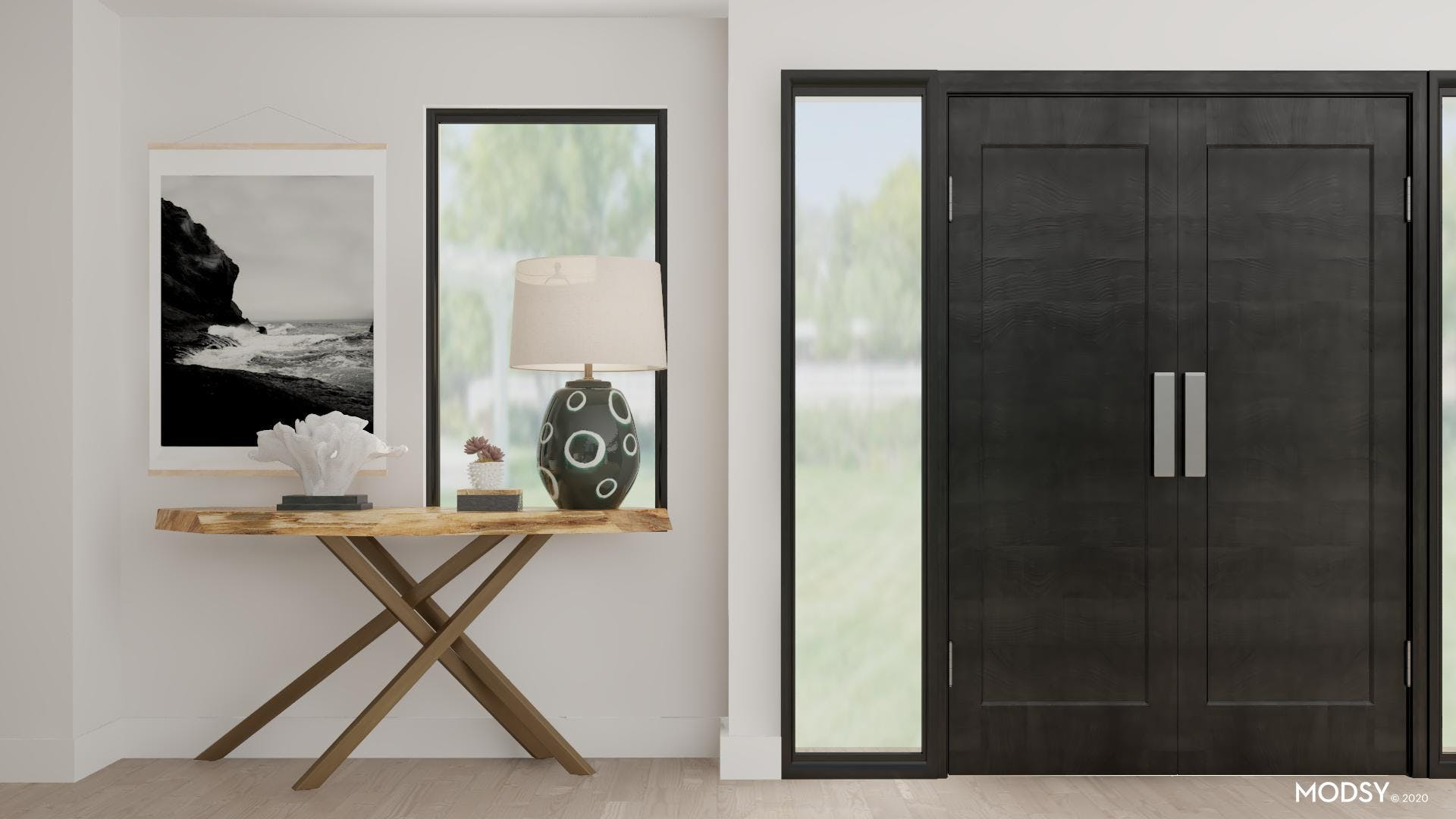 Black and White Coastal Inspired Entryway