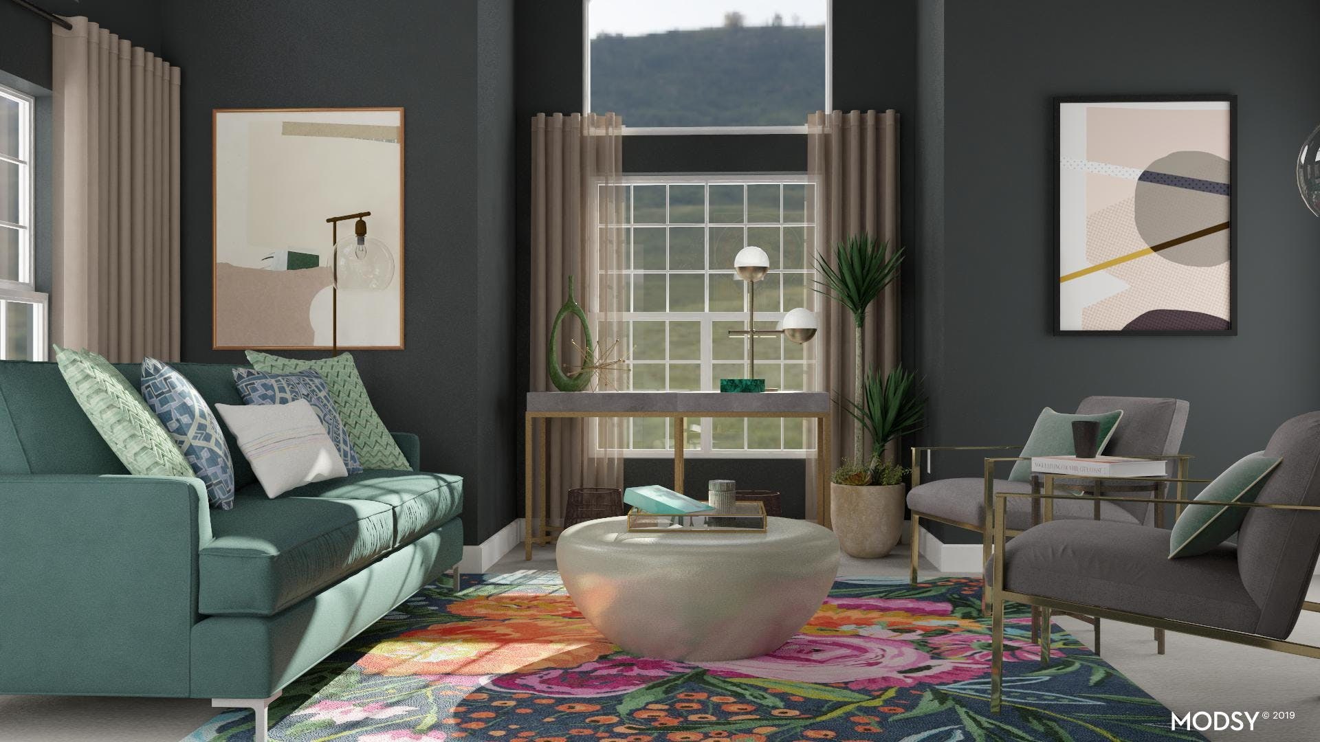 Glam Living Room in Green