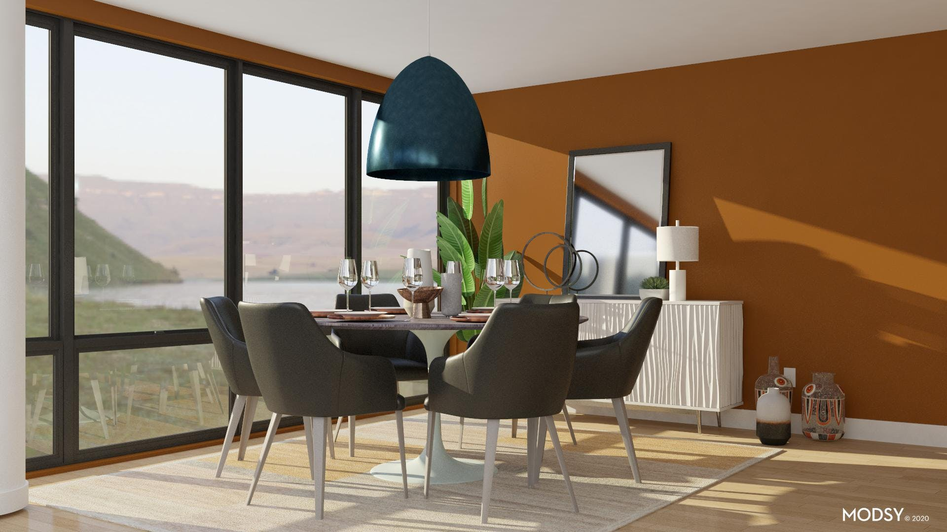 Modern Dining Room Gets Warmed Up