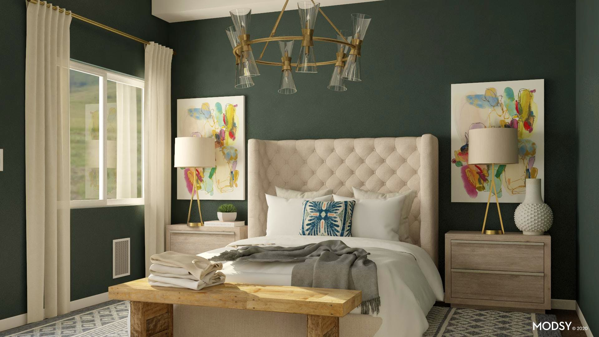 A Multi-Colored Traditional Style Bedroom