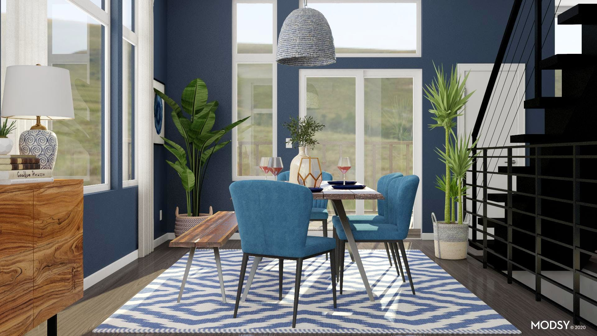 Blue Eclectic Dining Room