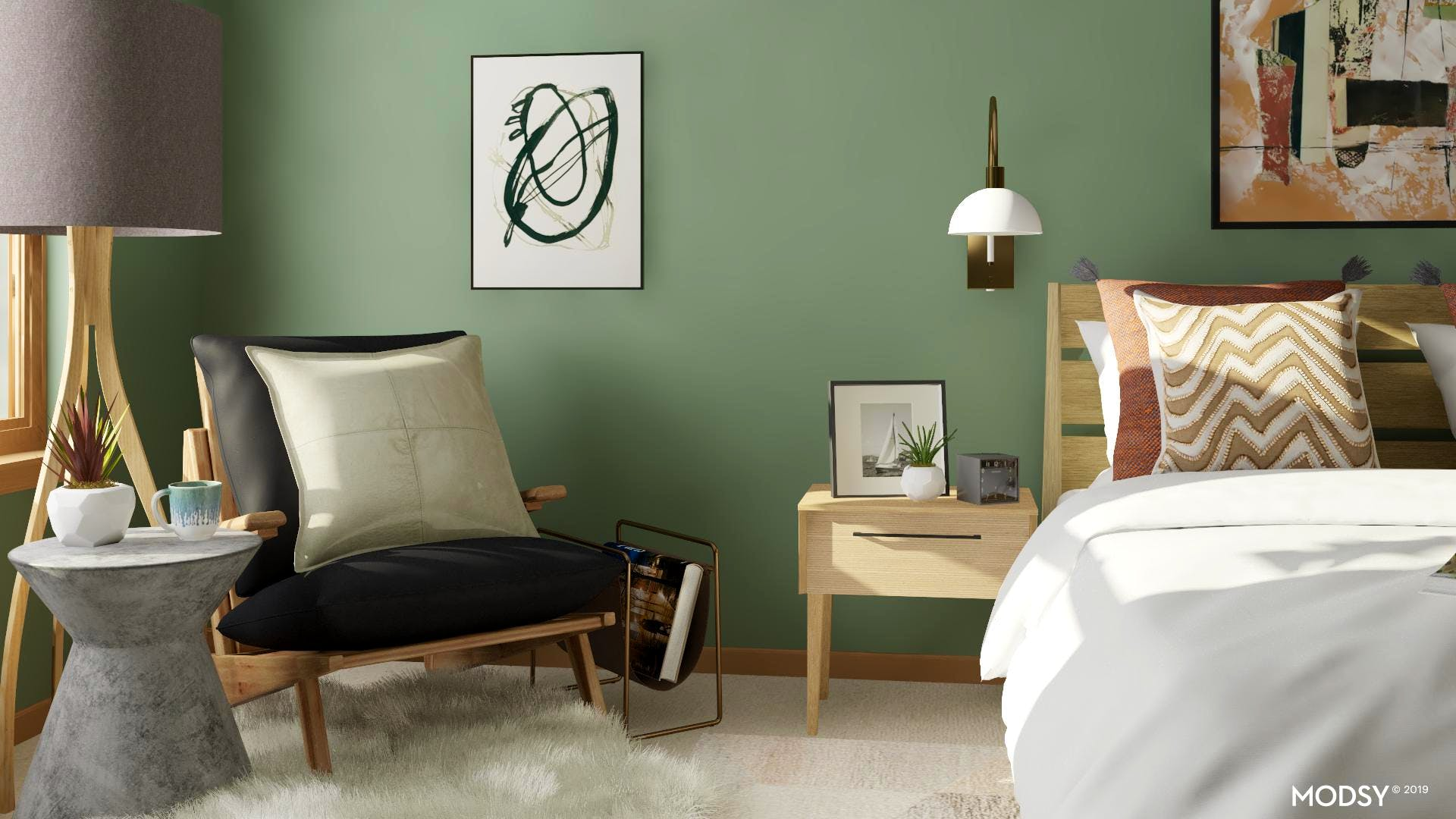 Earth Tone Mid-Century Modern Bedroom Reading Nook