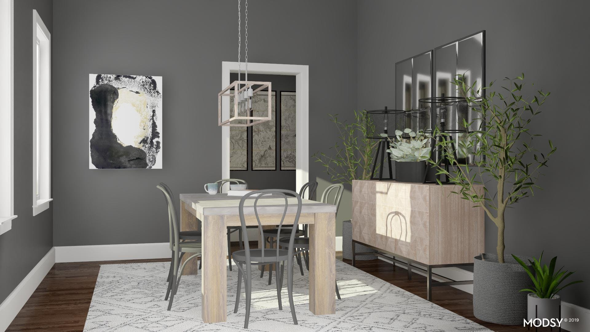 Neutral Industrial Dining Room