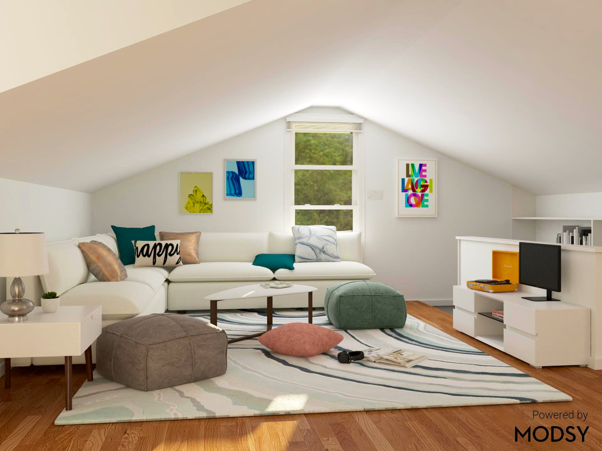 Attic Space Living Room with Contemporary Style