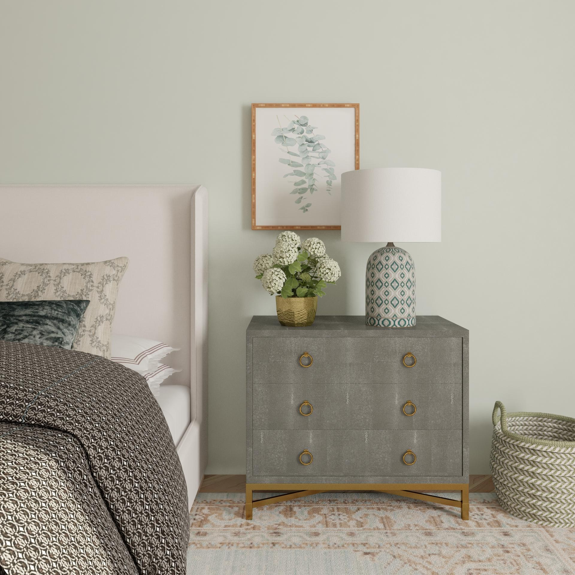 Shades Of Gray And Gold Transitional Style Bedroom Design Ideas