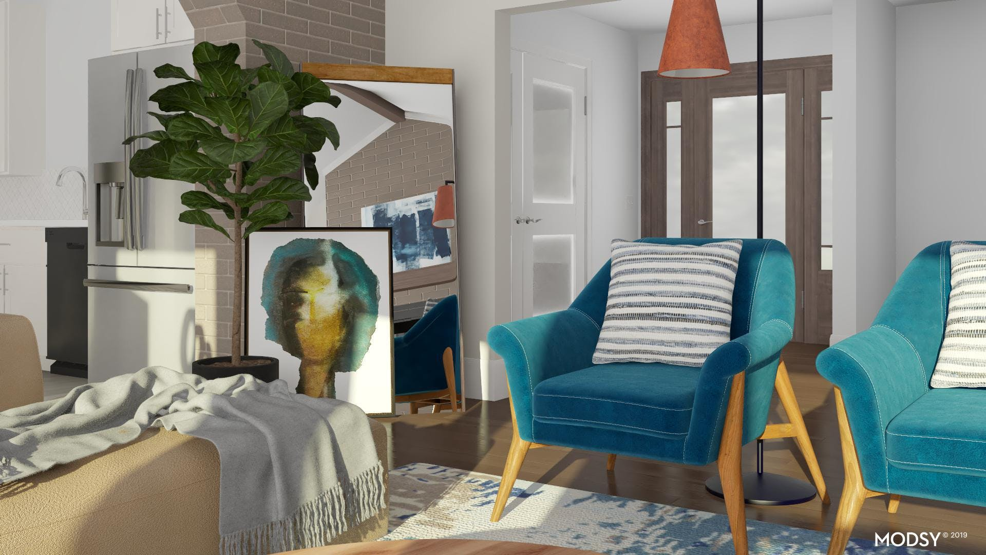 Bold Pops Of Blues In Living Rooms