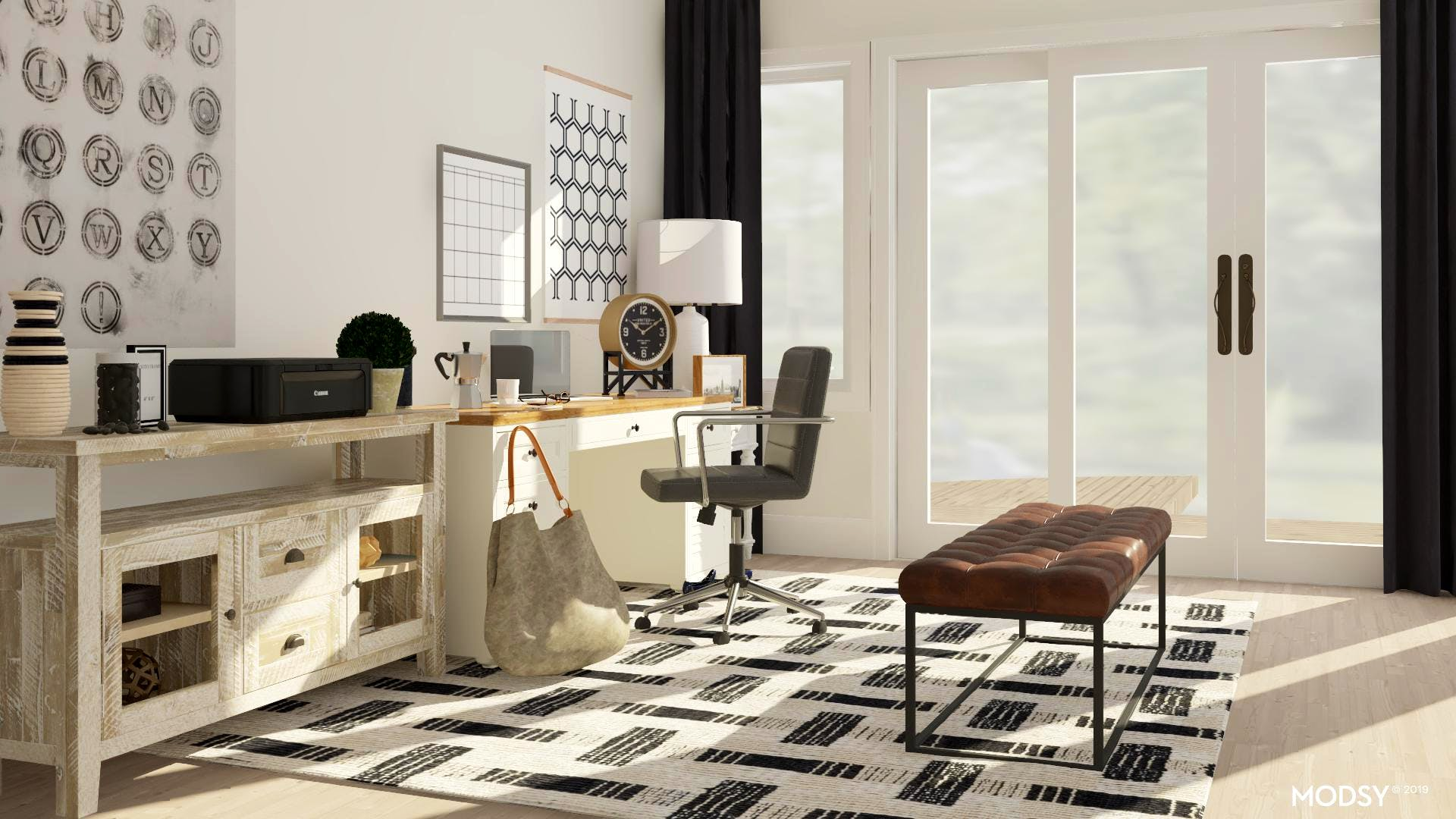 Black & White Traditional Office
