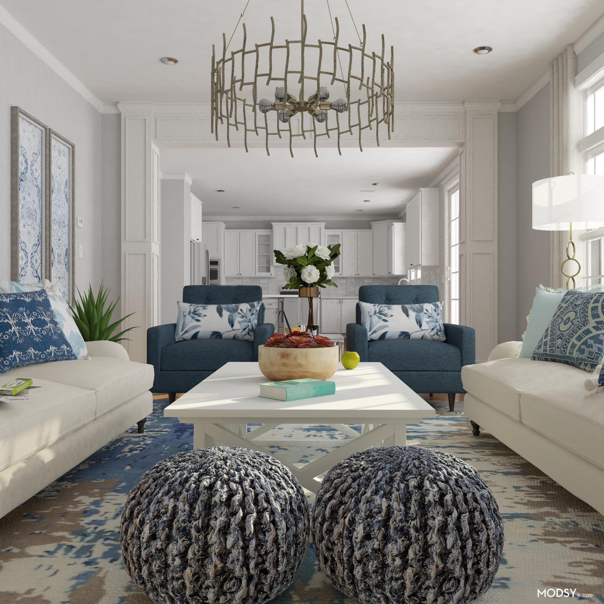 Transitional Living Room Embraces Blues