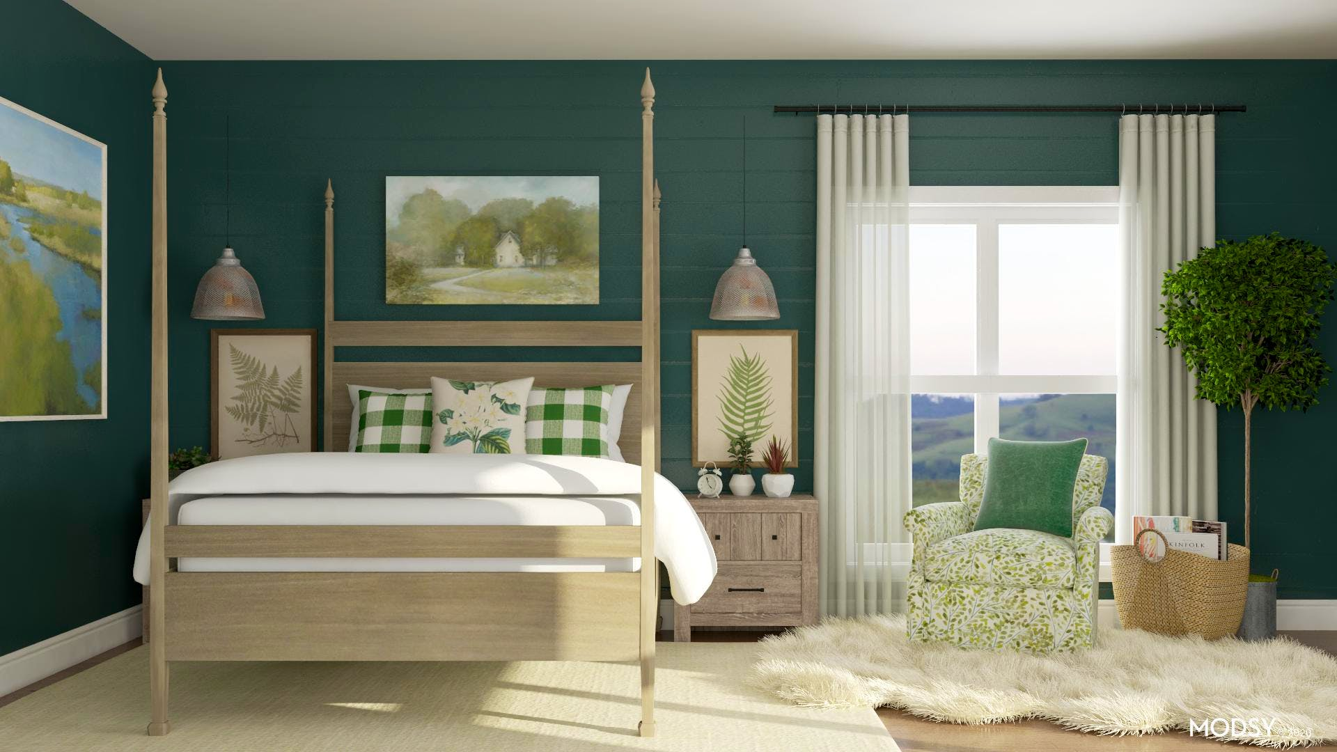 Green Charm: Rustic Bedroom