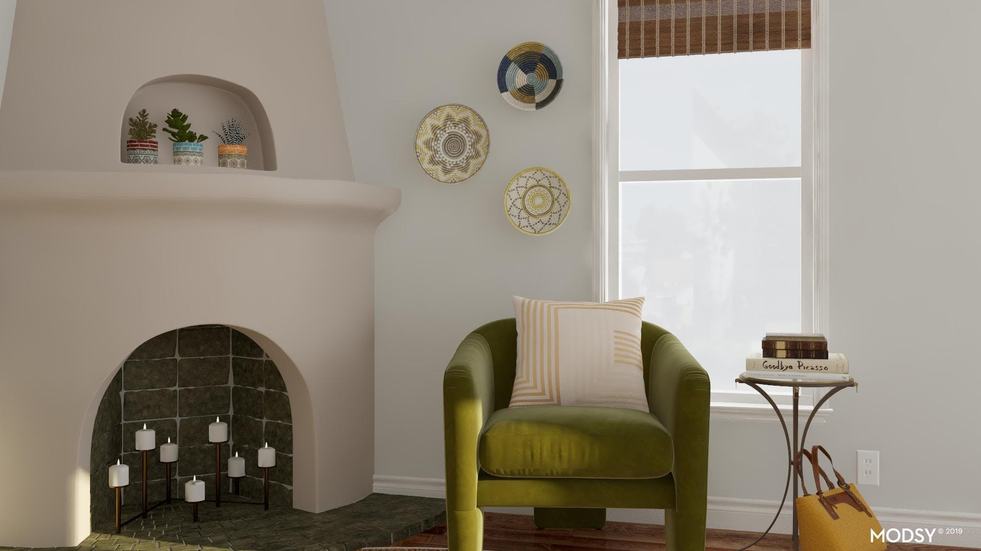 Green Accent Chair in an Eclectic Living Room