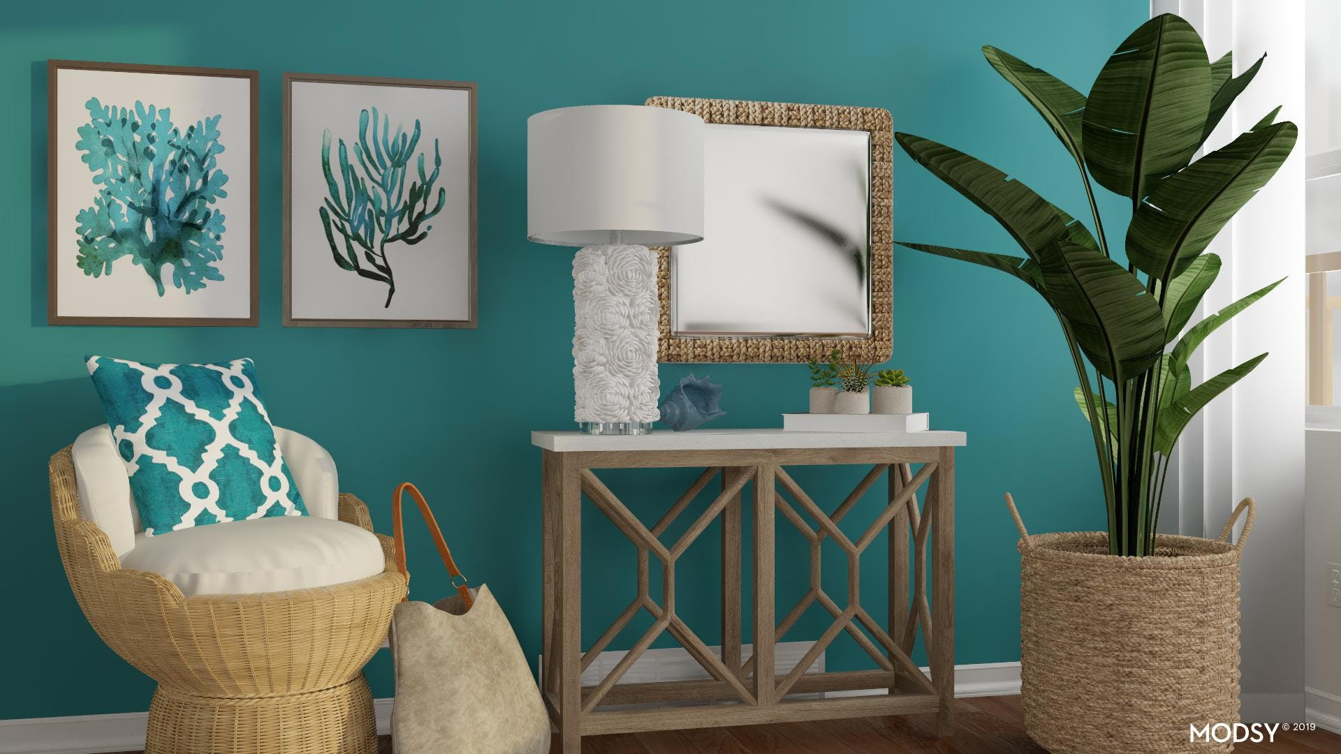 Relaxed Teal Entry with Coastal Vibes