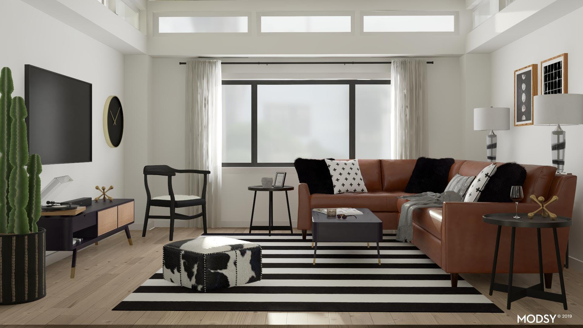 A Mid-Century Modern Living Room: Black And White Approach