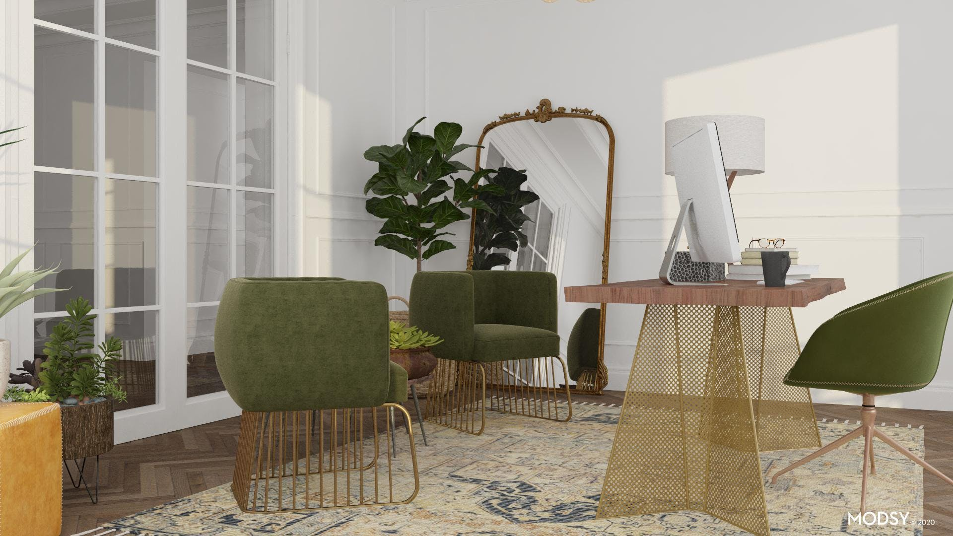 Distressed Green: Eclectic Home Office