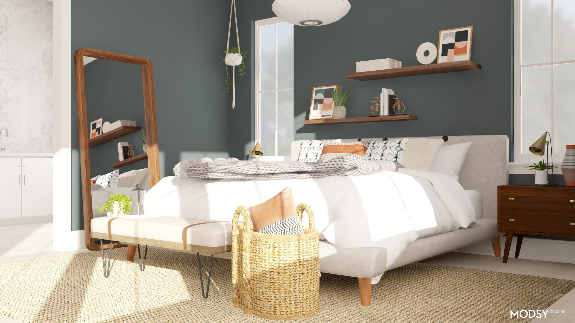 A Earth Toned Mid-Century Bedroom with Flair