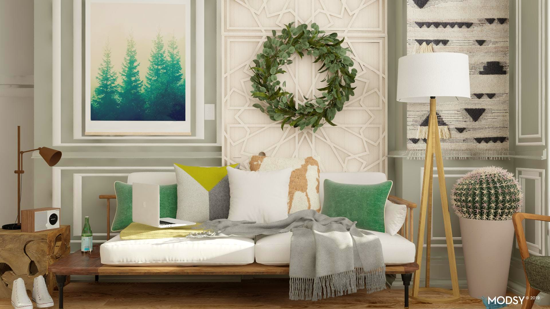 Mean, Green And Masculine-Rustic Living Room Ideas