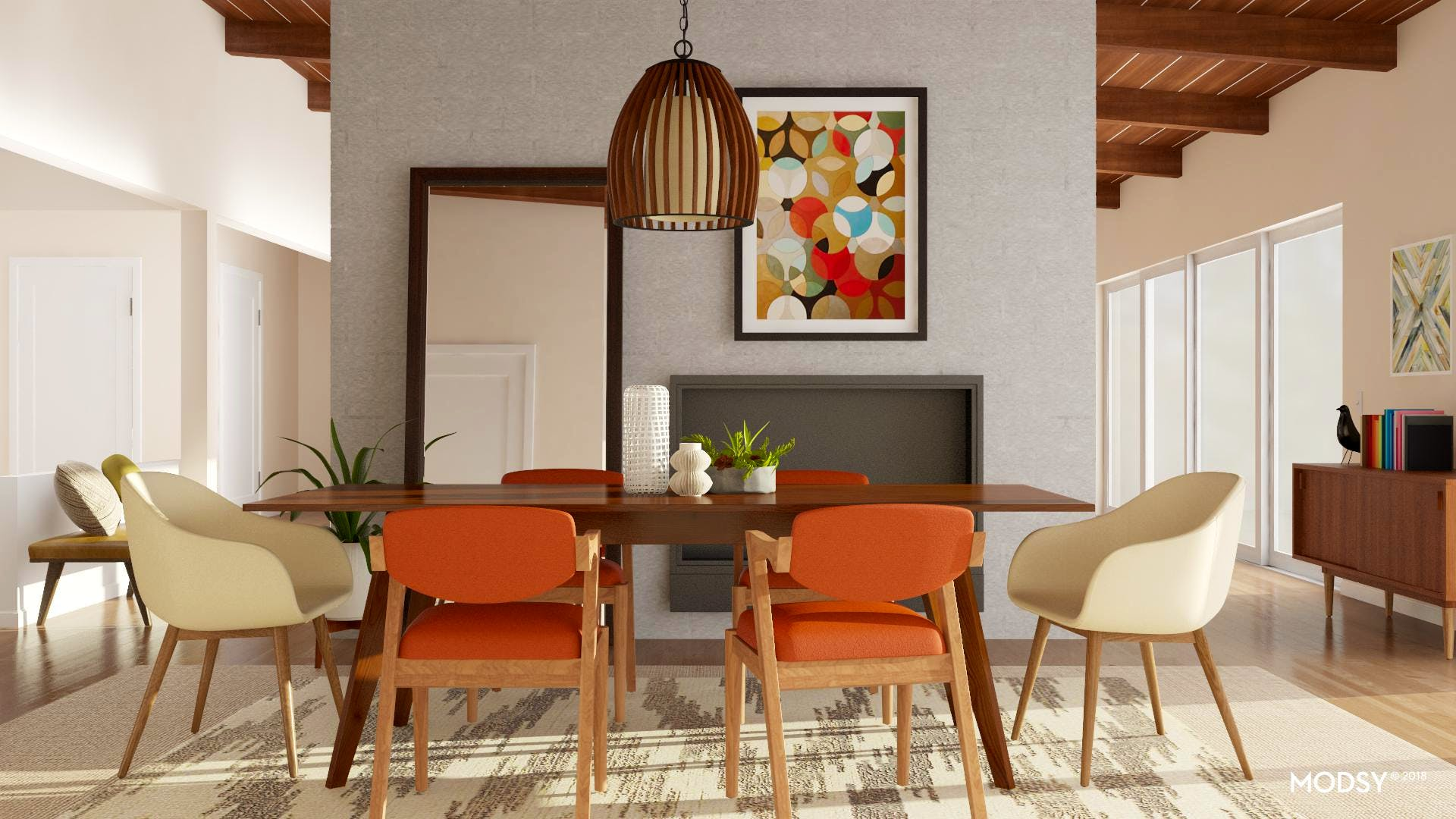 A Warmly Colorful Modern Dining Room