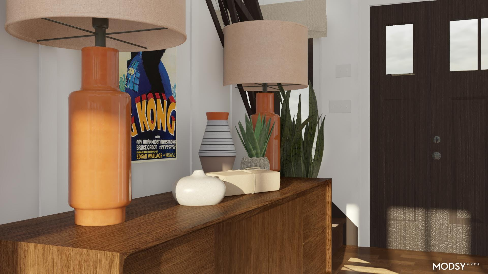 Mid-Century Styling And Color Welcomes Guests