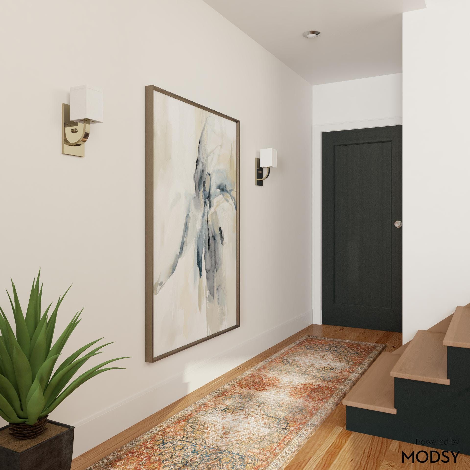 Contemporary Entryway with Bold Statement Art