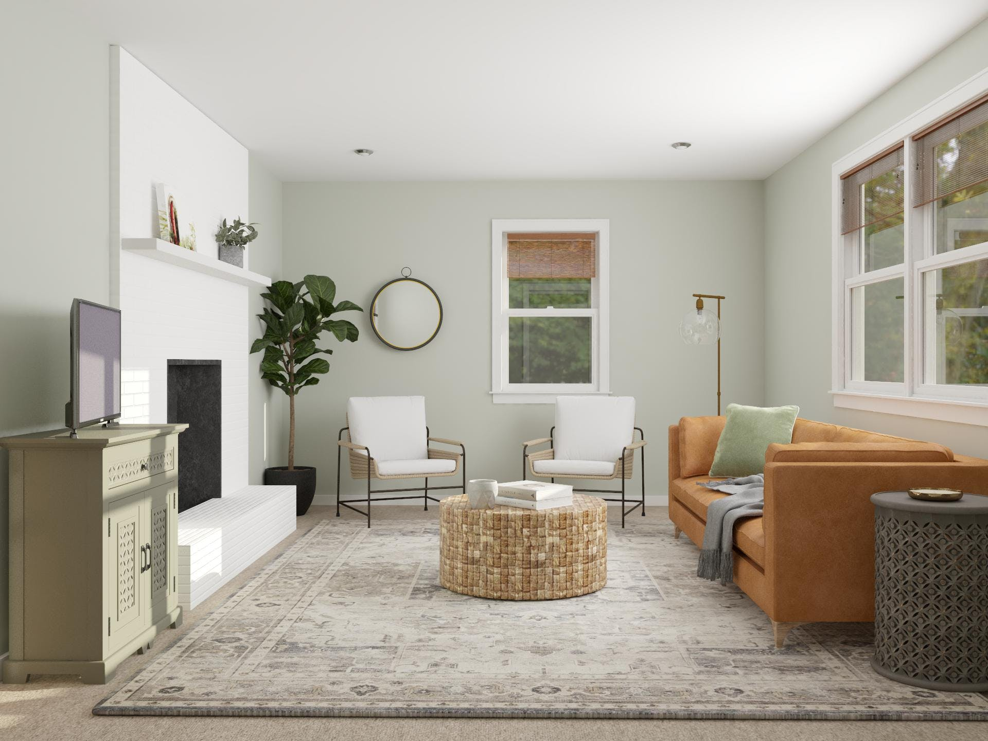 Light and Airy Neutral Colored Living Room With Modern Eclectic Style