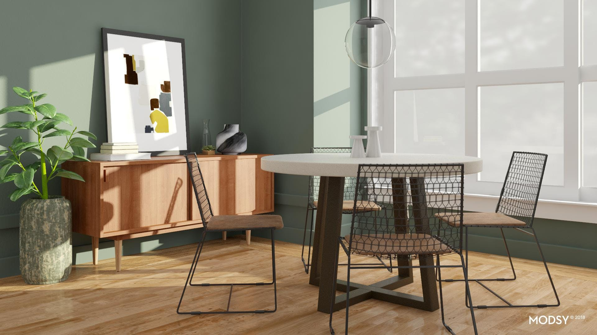 A Colorful Modern Industrial Dining Room
