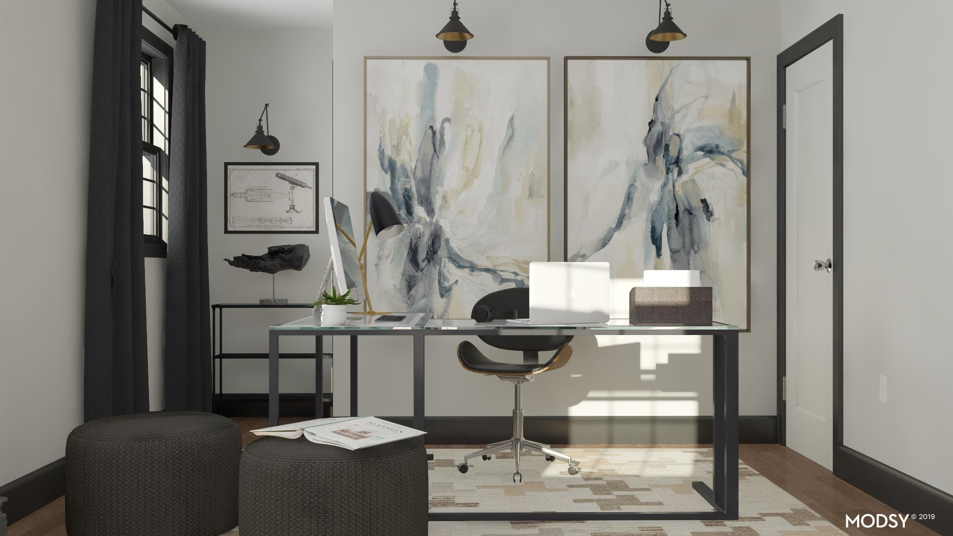 A Modern Neutral Masculine Home Office