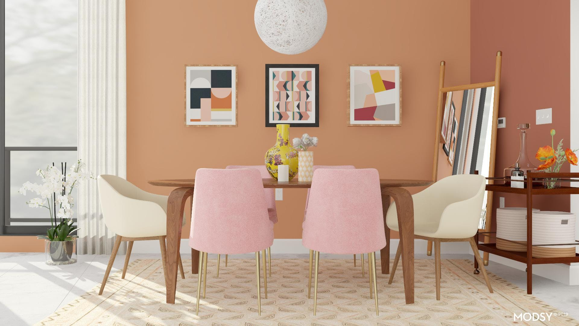 Mid-Century Dining Room: Pretty In Pink
