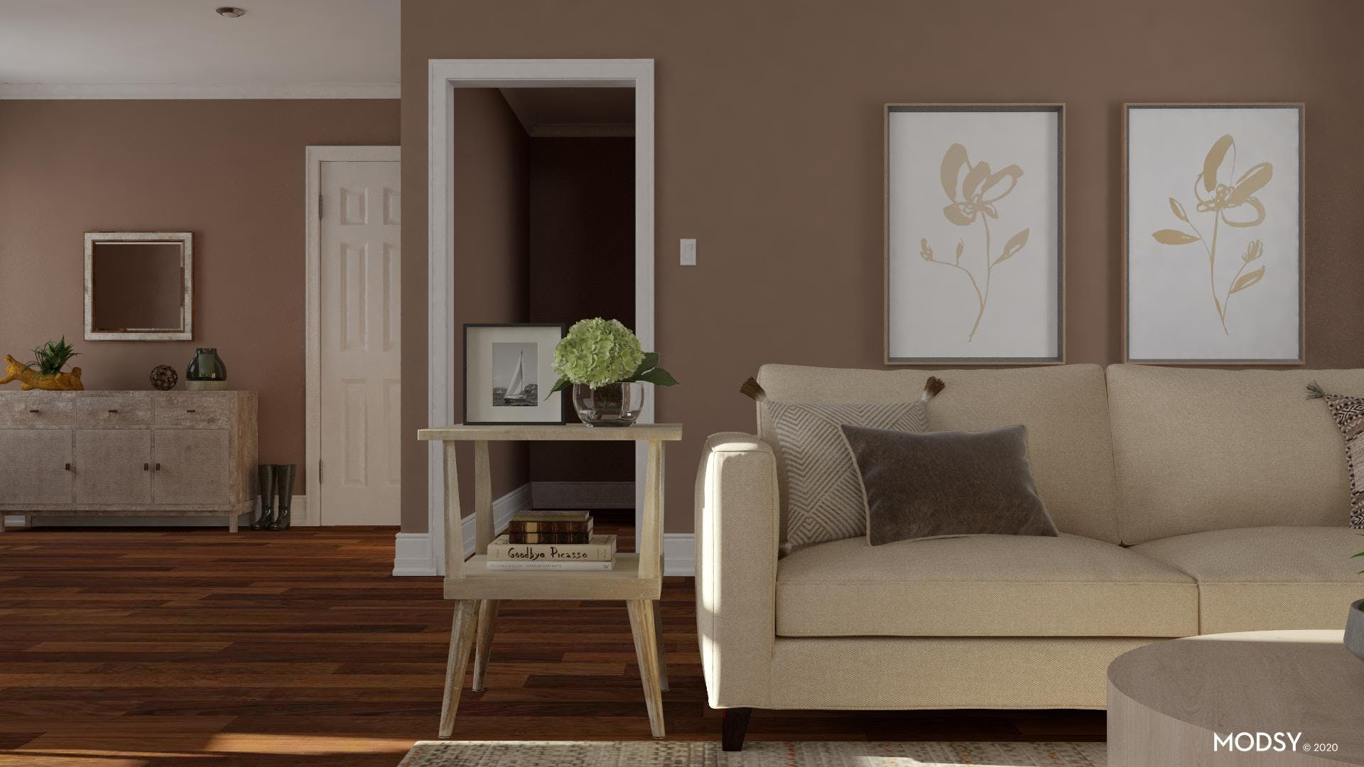 Cozy Earth Tones: Transitional Living Room