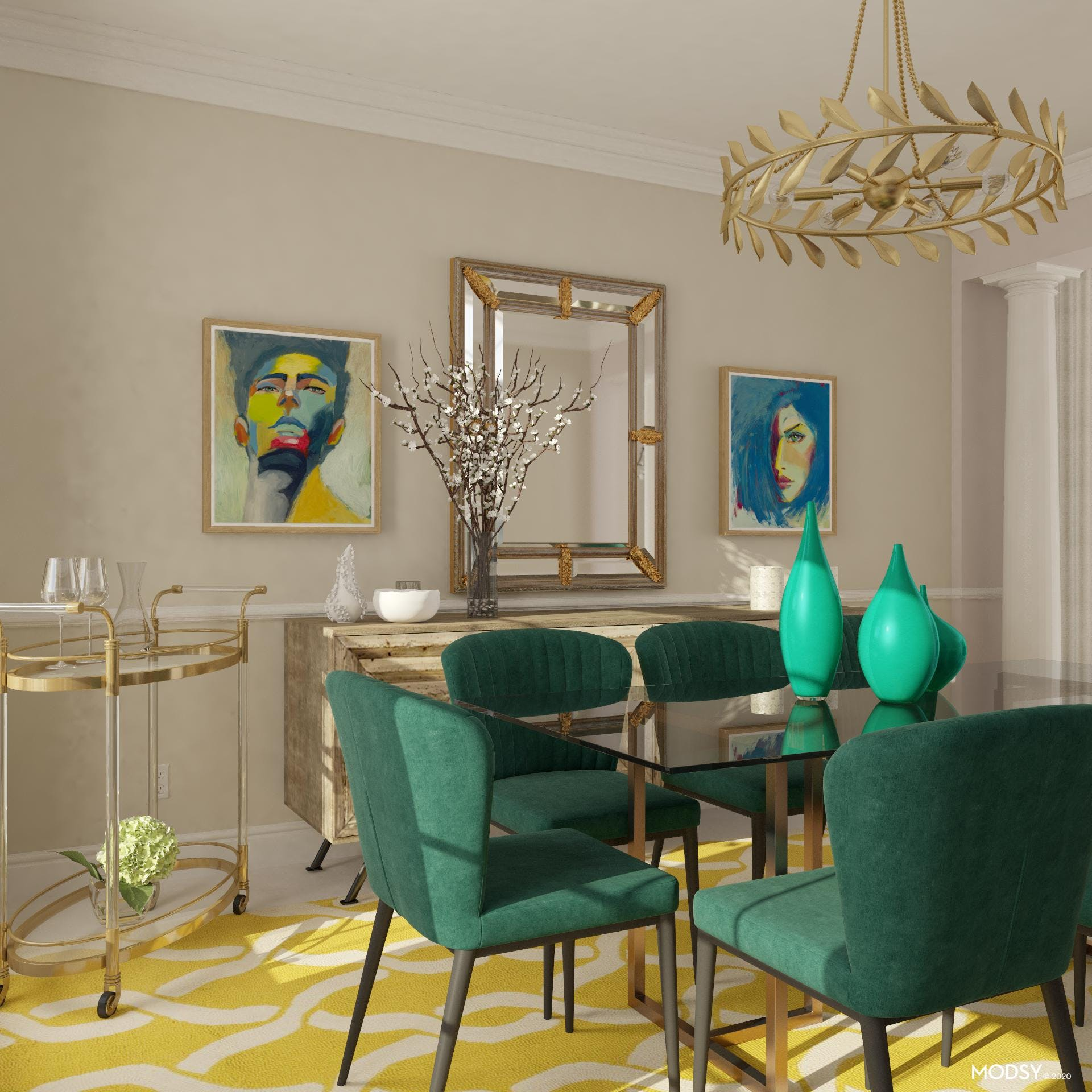Bright Multicolor Glamorous Dining Room