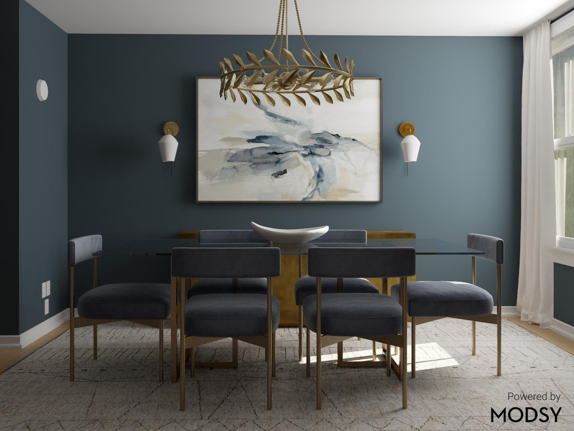 Bold Blue Dining Room in Daring Transitional Style