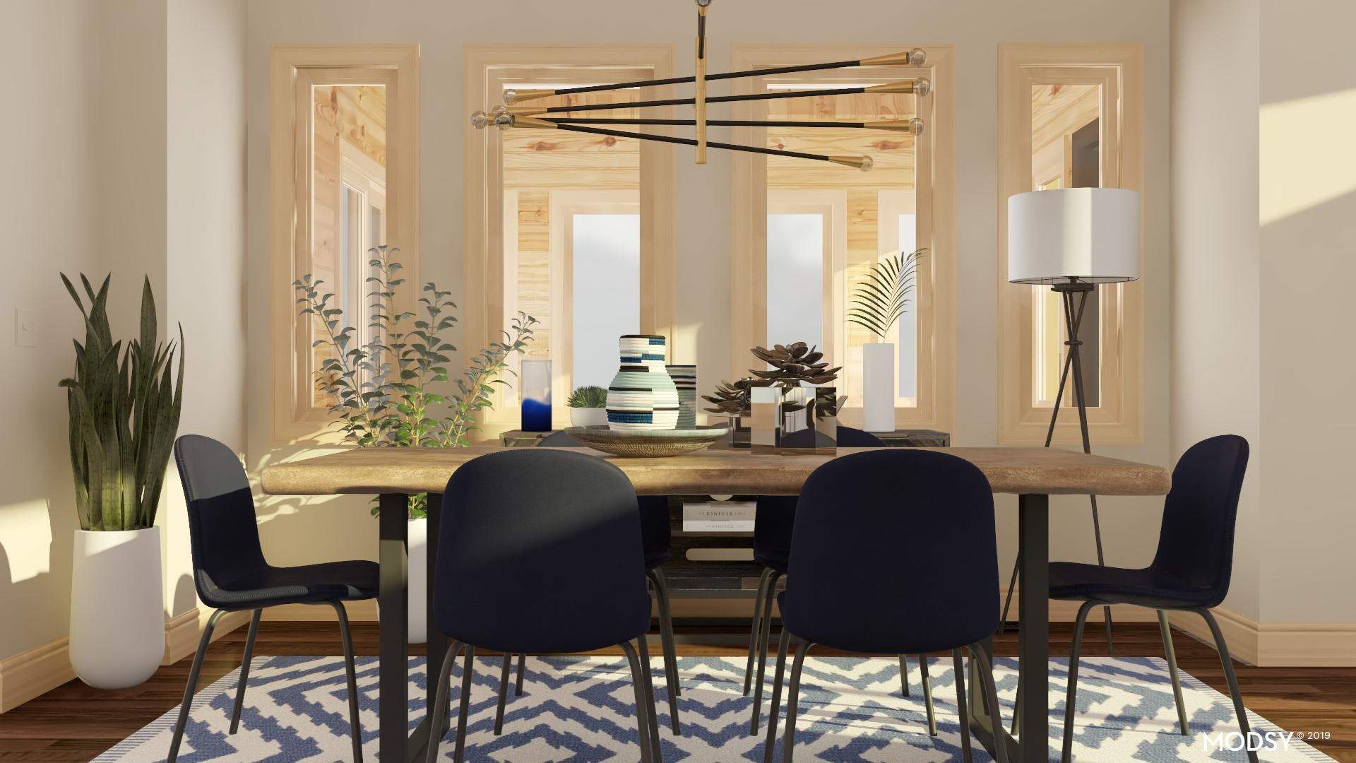 Pops Of Blue: Industrial Dining