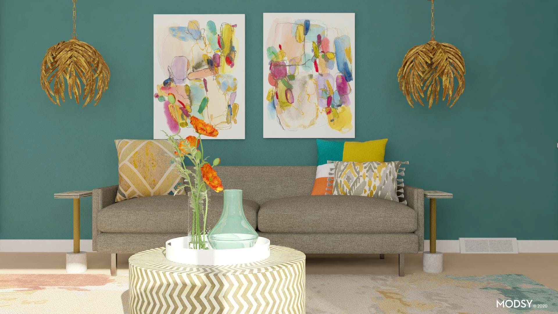 Colorful Jewel Tone Living Room