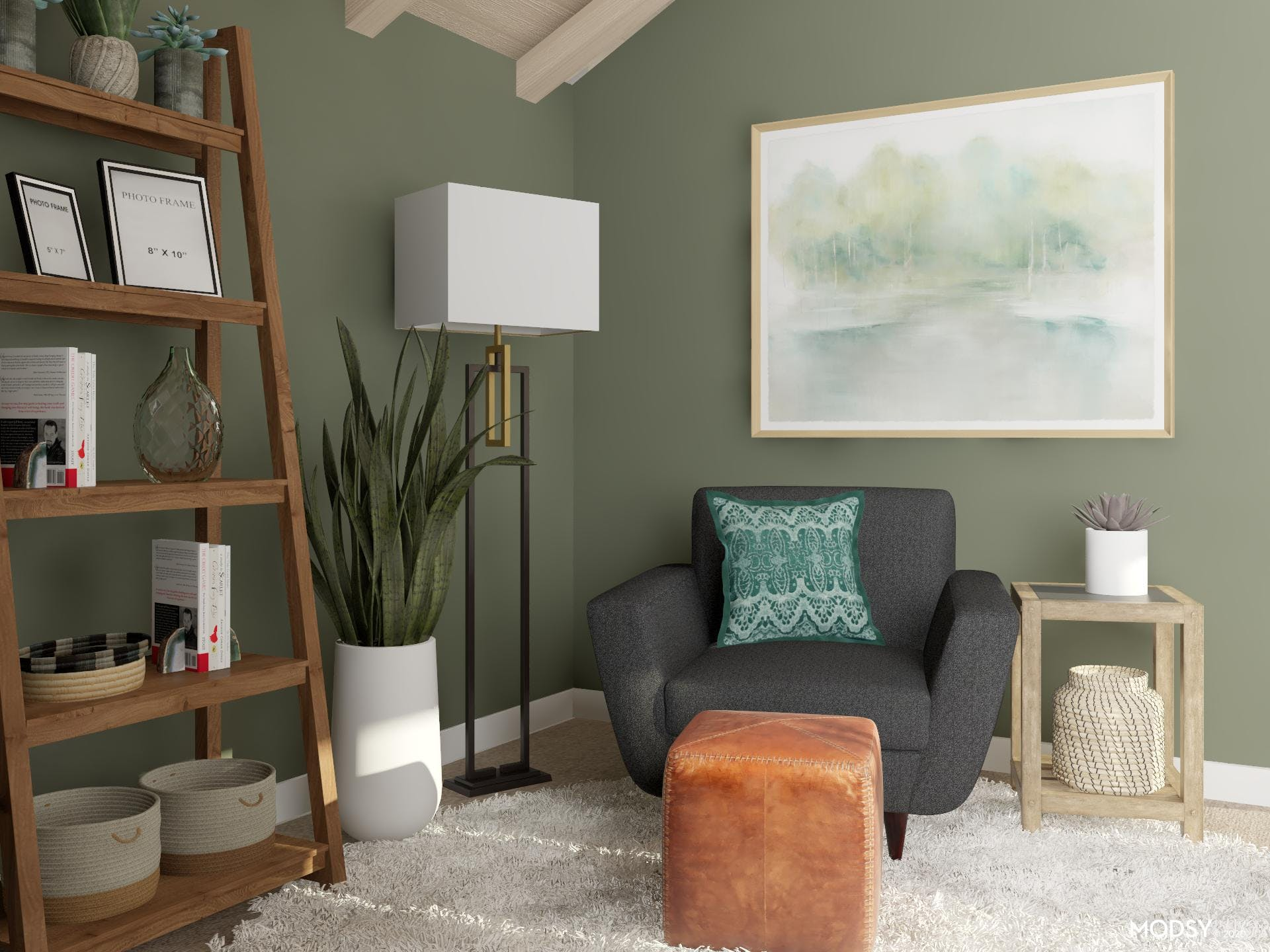 Cozy Reading Nook With Pops Of Green
