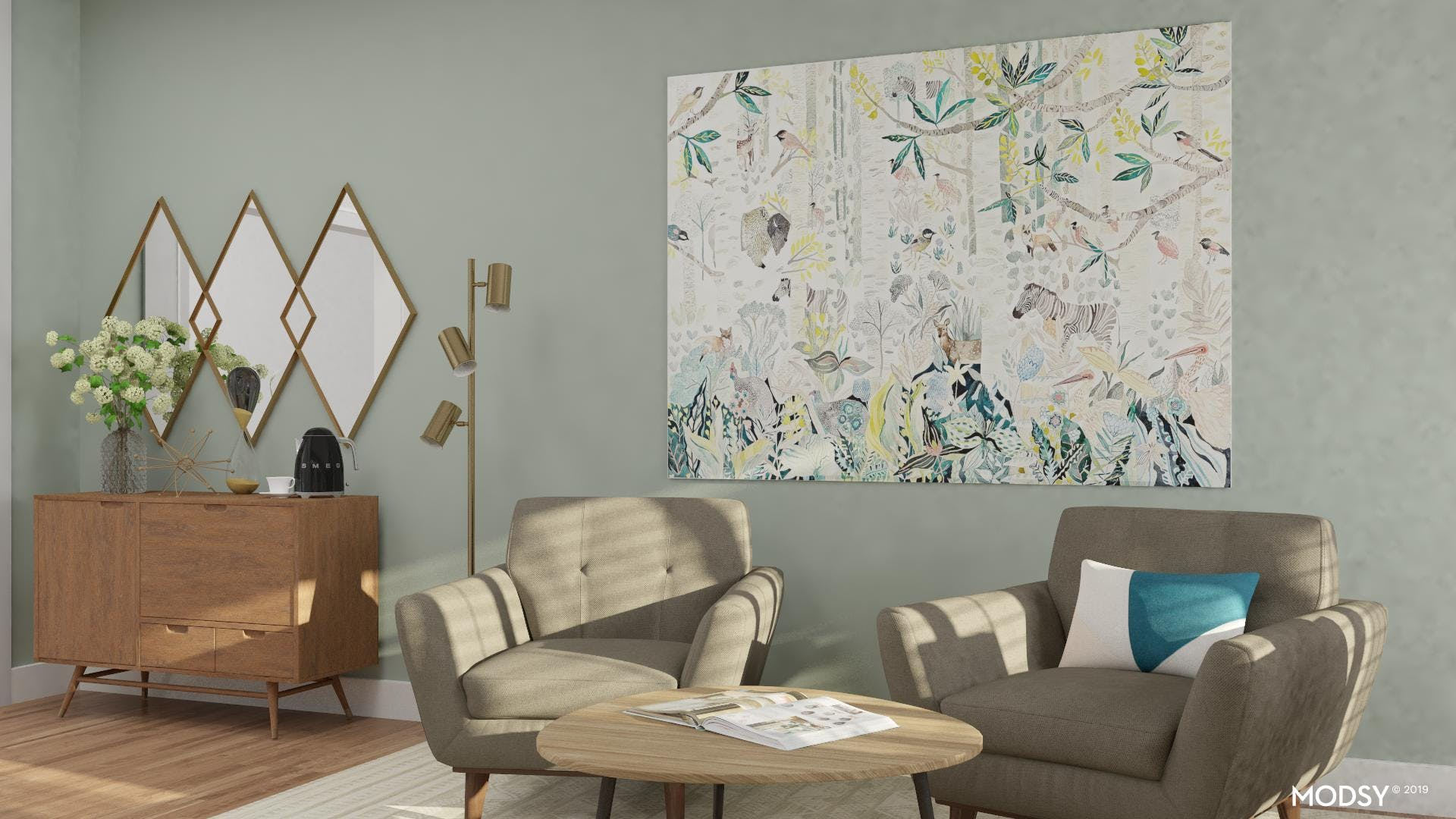 Mid-century Modern: Brass and Wood Accents
