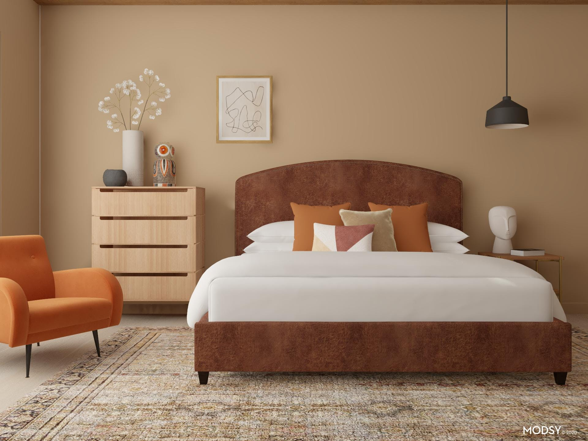 Organic Modern Bedroom with Leather Upholstered Bed