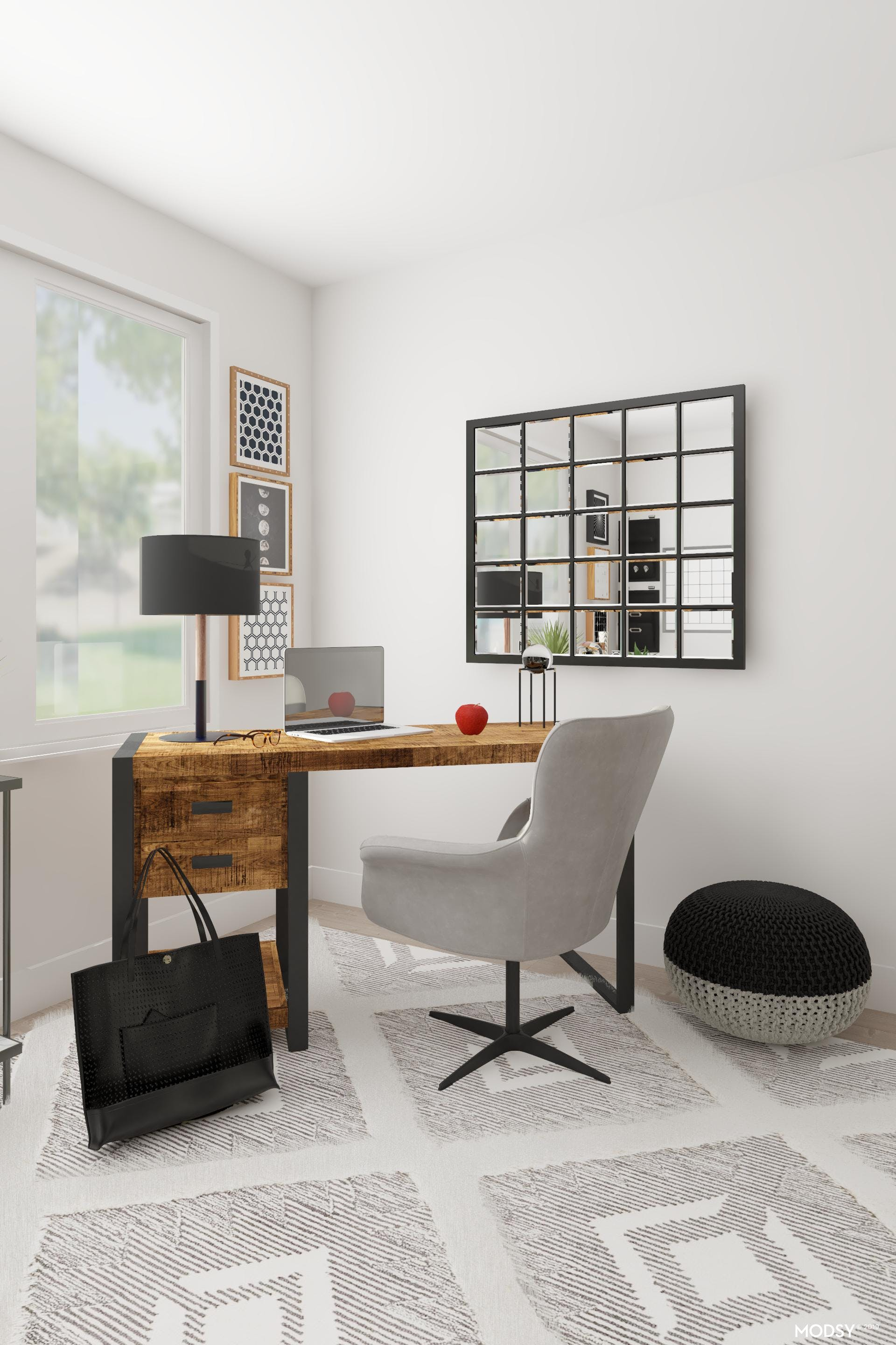 Coastal Inspired Office In Black And White