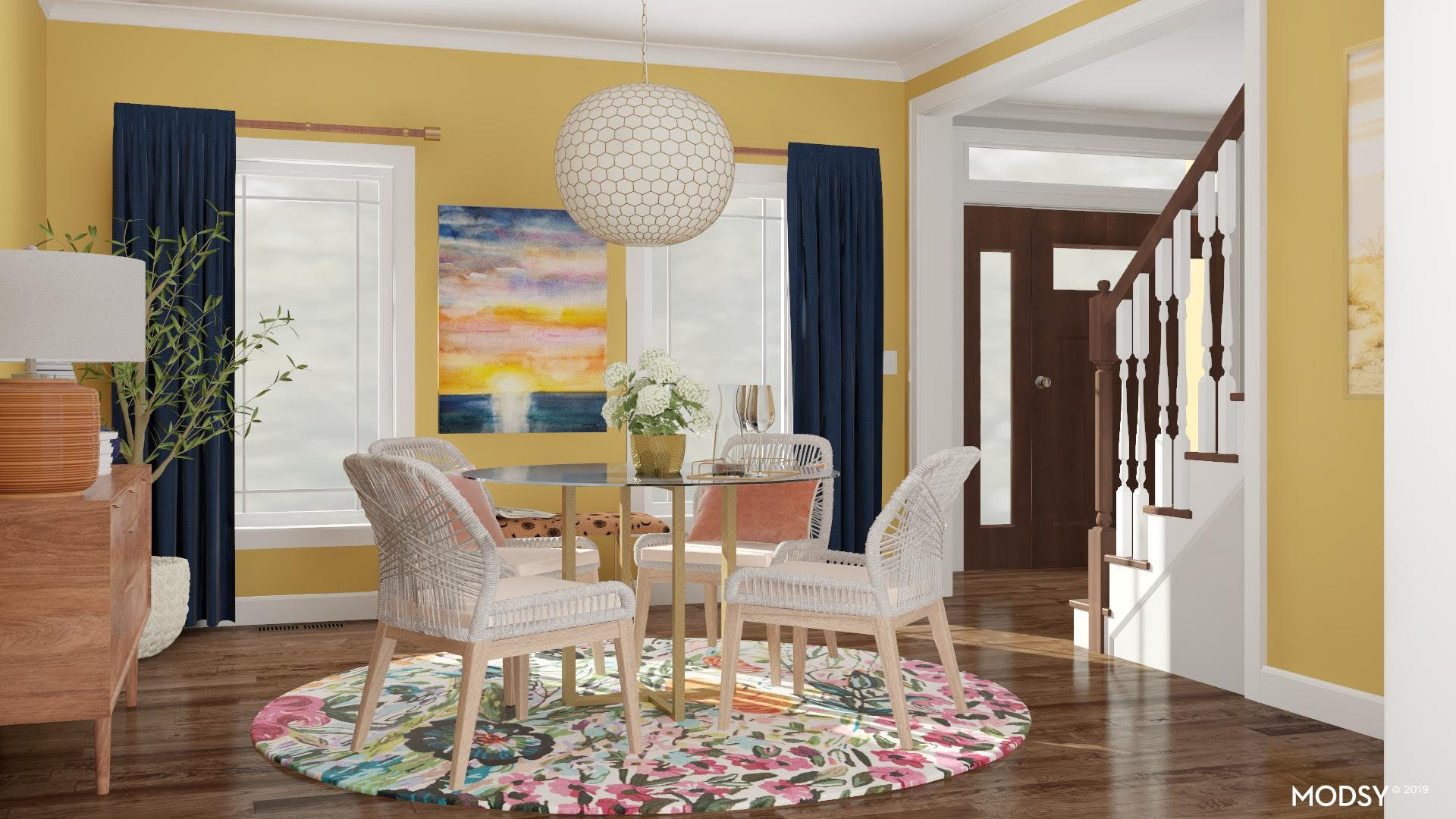 Modern Dining Room with a Bold Color Palette