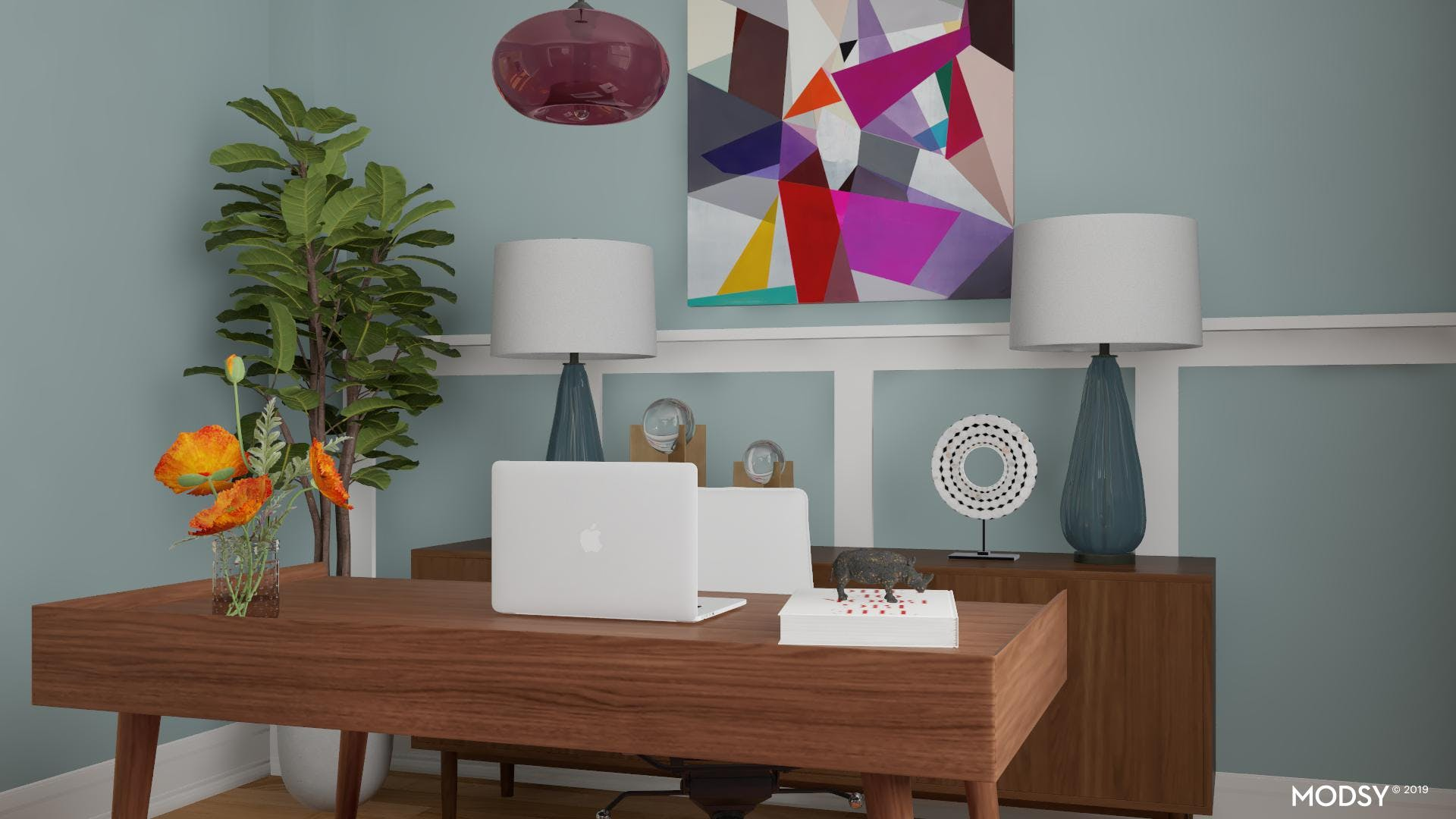 Combining Bold Colors: Home Office