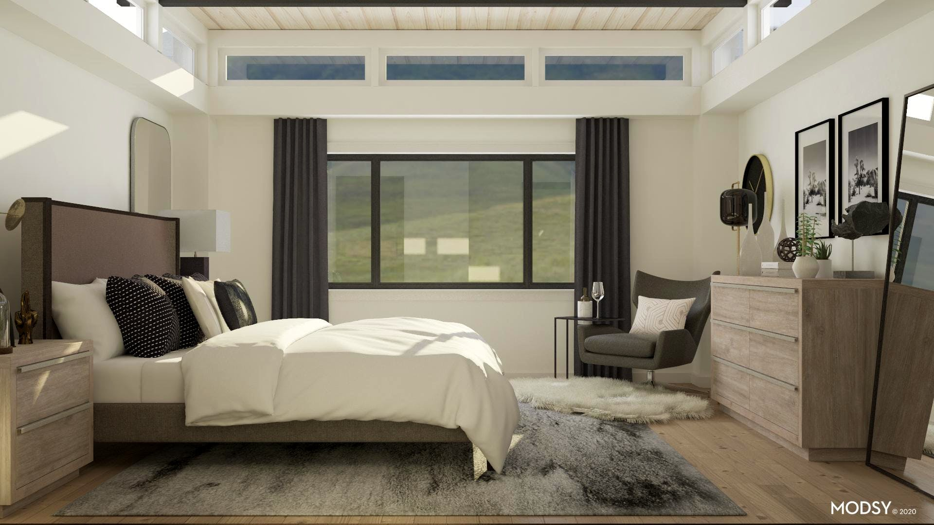 An Overall View Of A Modern Bedroom